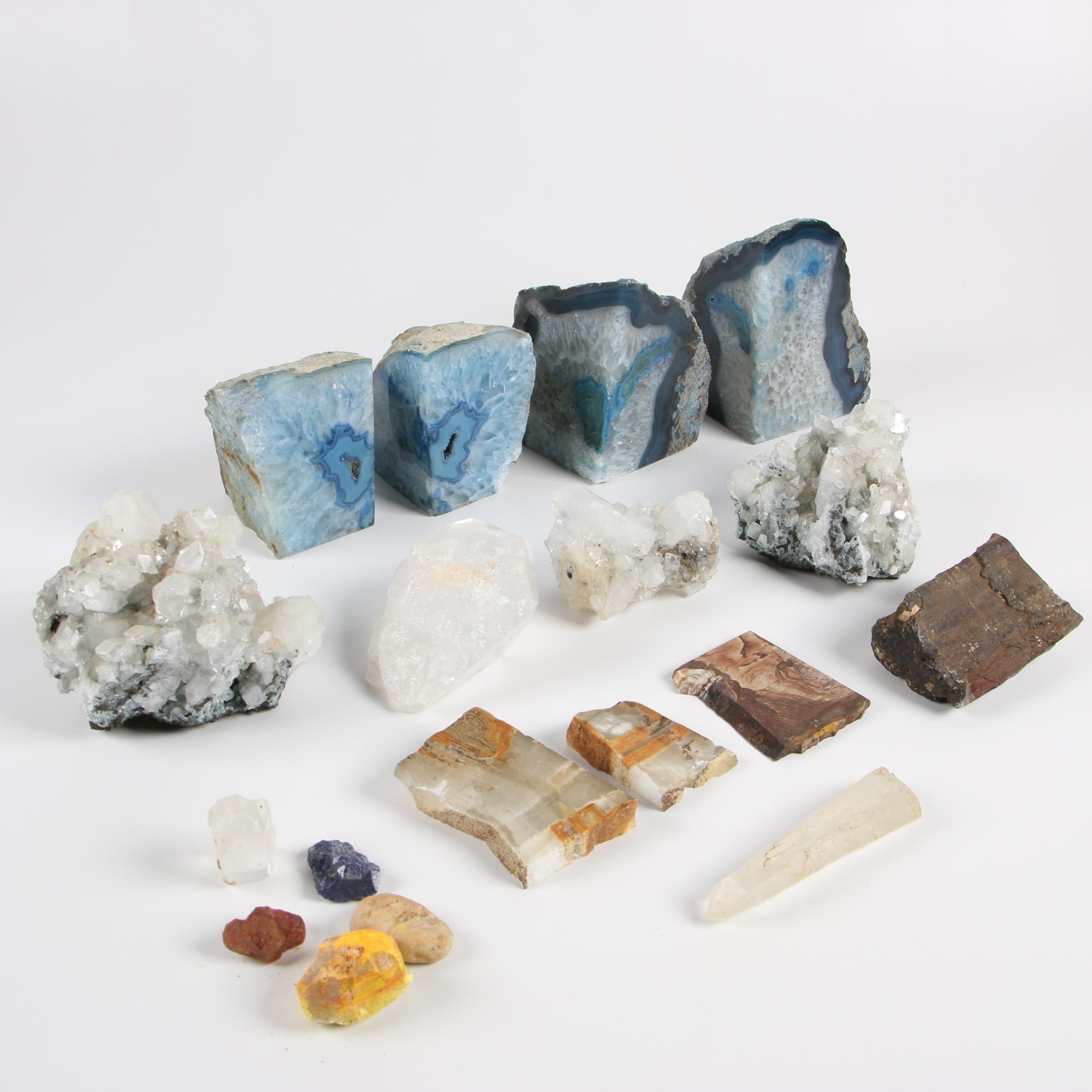 Brazilian Polished Dyed Agate Bookends and Other Mineral Specimens