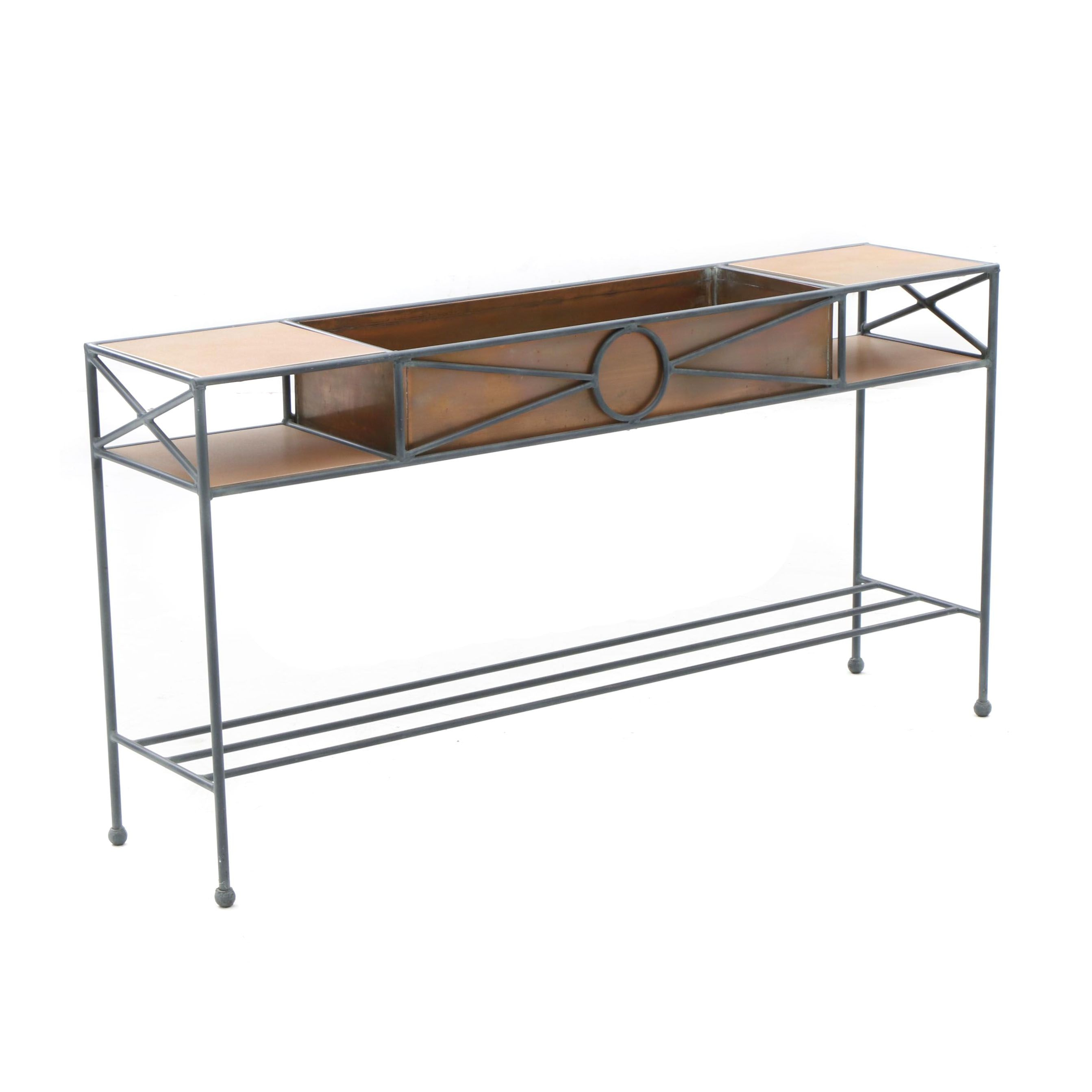 Charleston Forge Iron Console Table with Copper and Tile Inserts