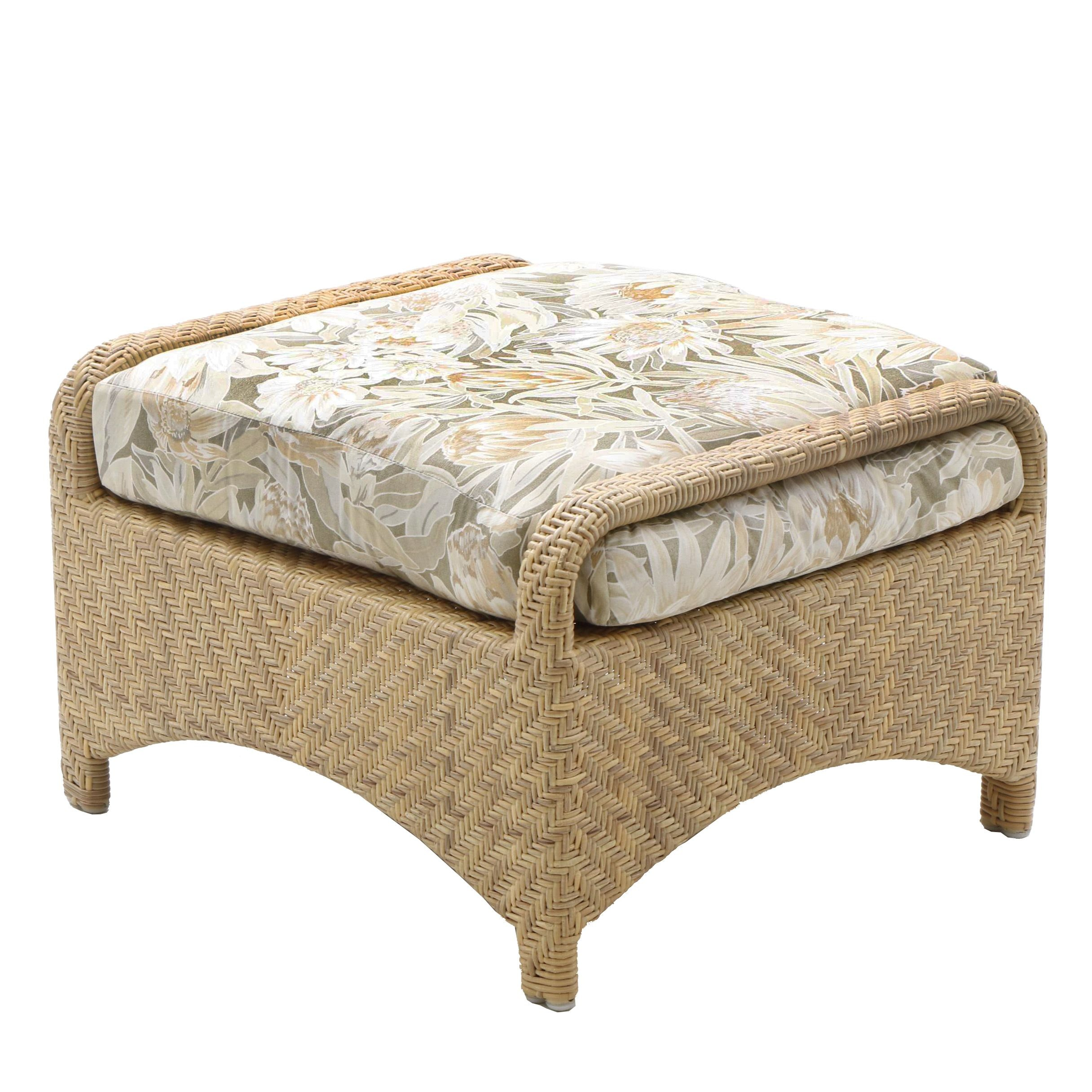Wicker Patio Ottoman with Fitted Cushion