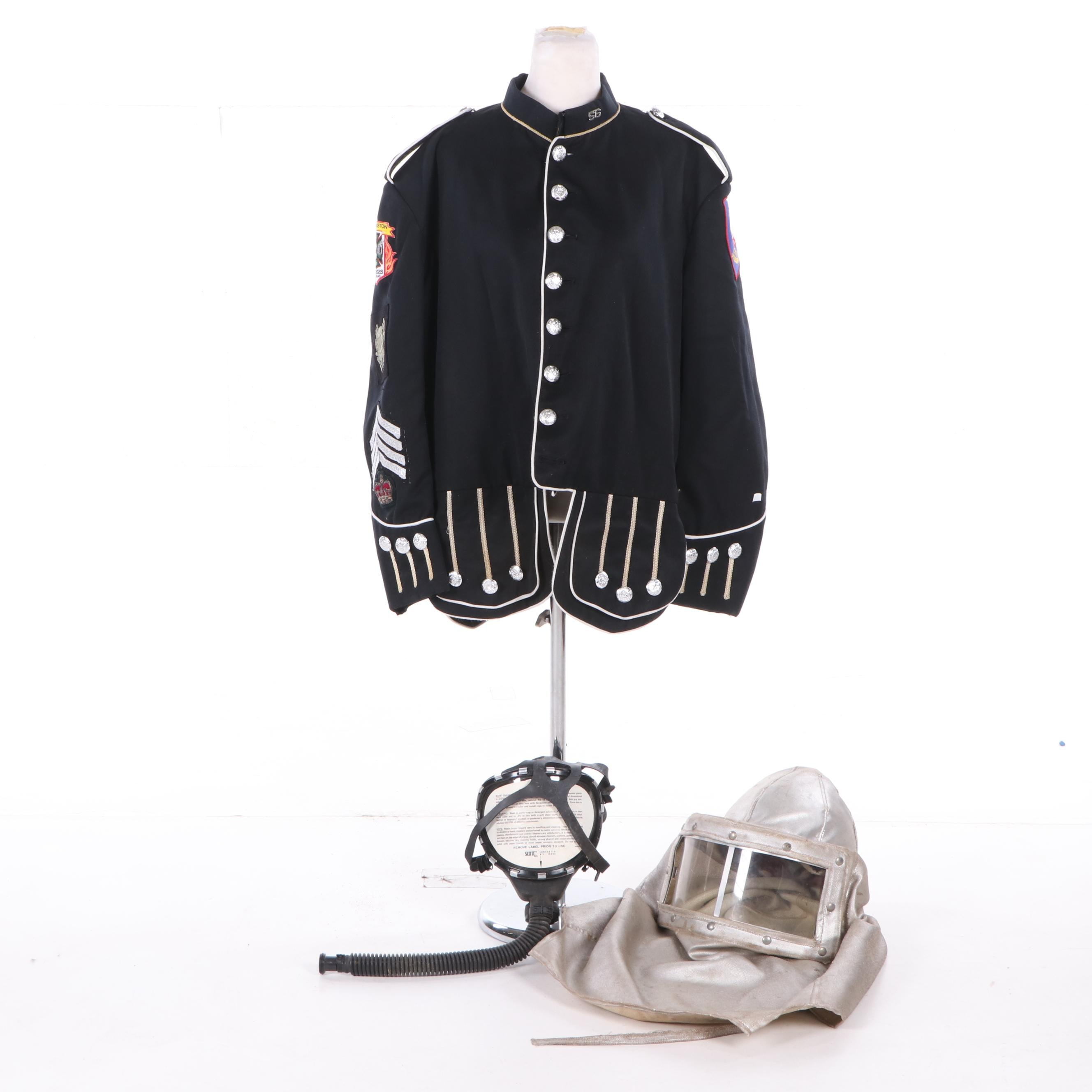 Quincy, MA Firefighter Dress Coat with FyreRepel Hood and Scott ATO Mask
