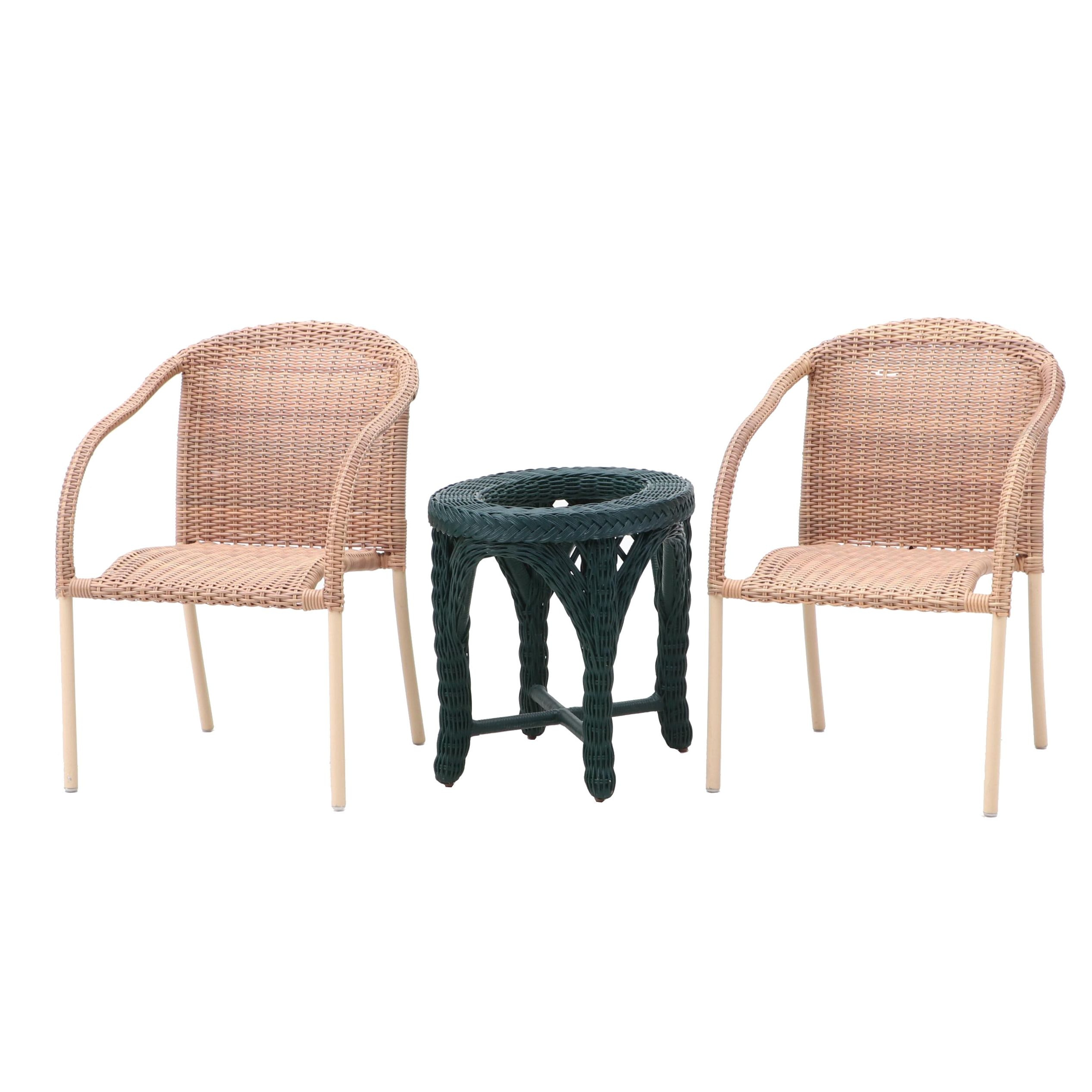 Woven Wicker Patio Arm Chairs and Oval Table