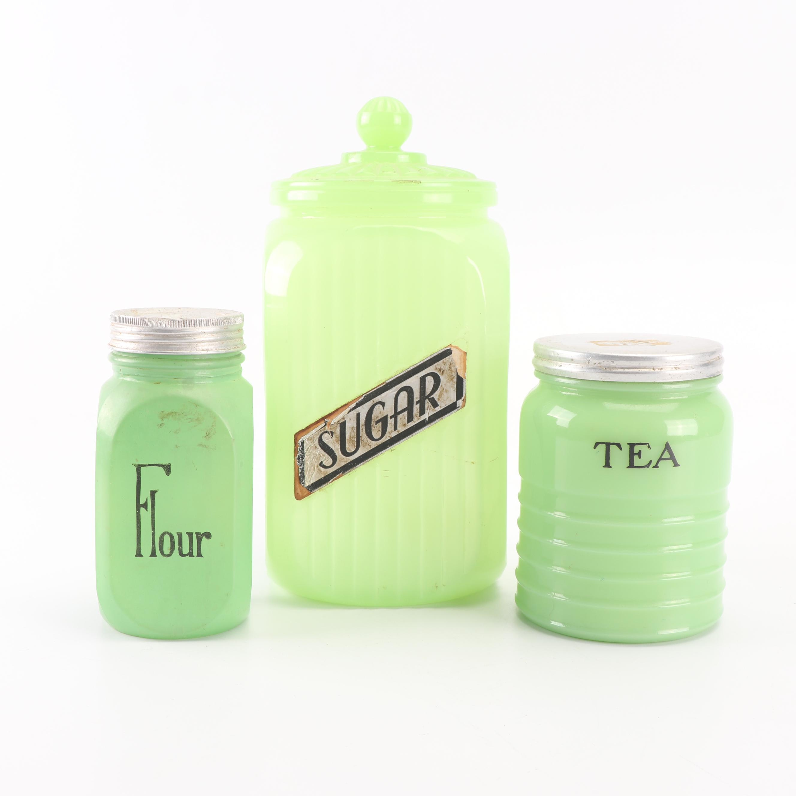 Jadeite Glass Kitchen Canisters including Jeannette, Mid-Century
