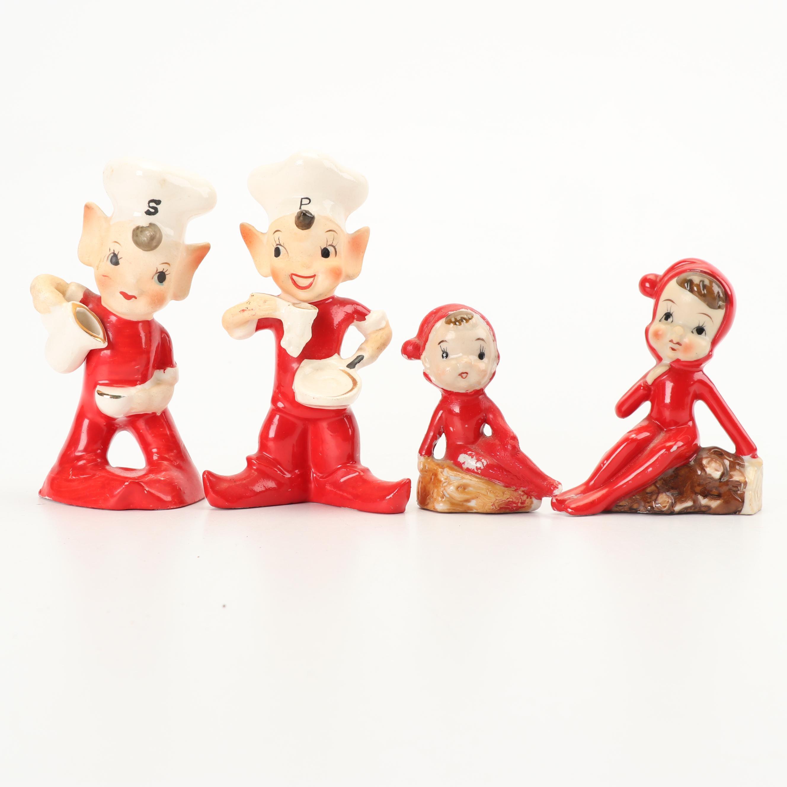 Ceramic Pixie Figurines with Salt and Pepper Set, Mid Century