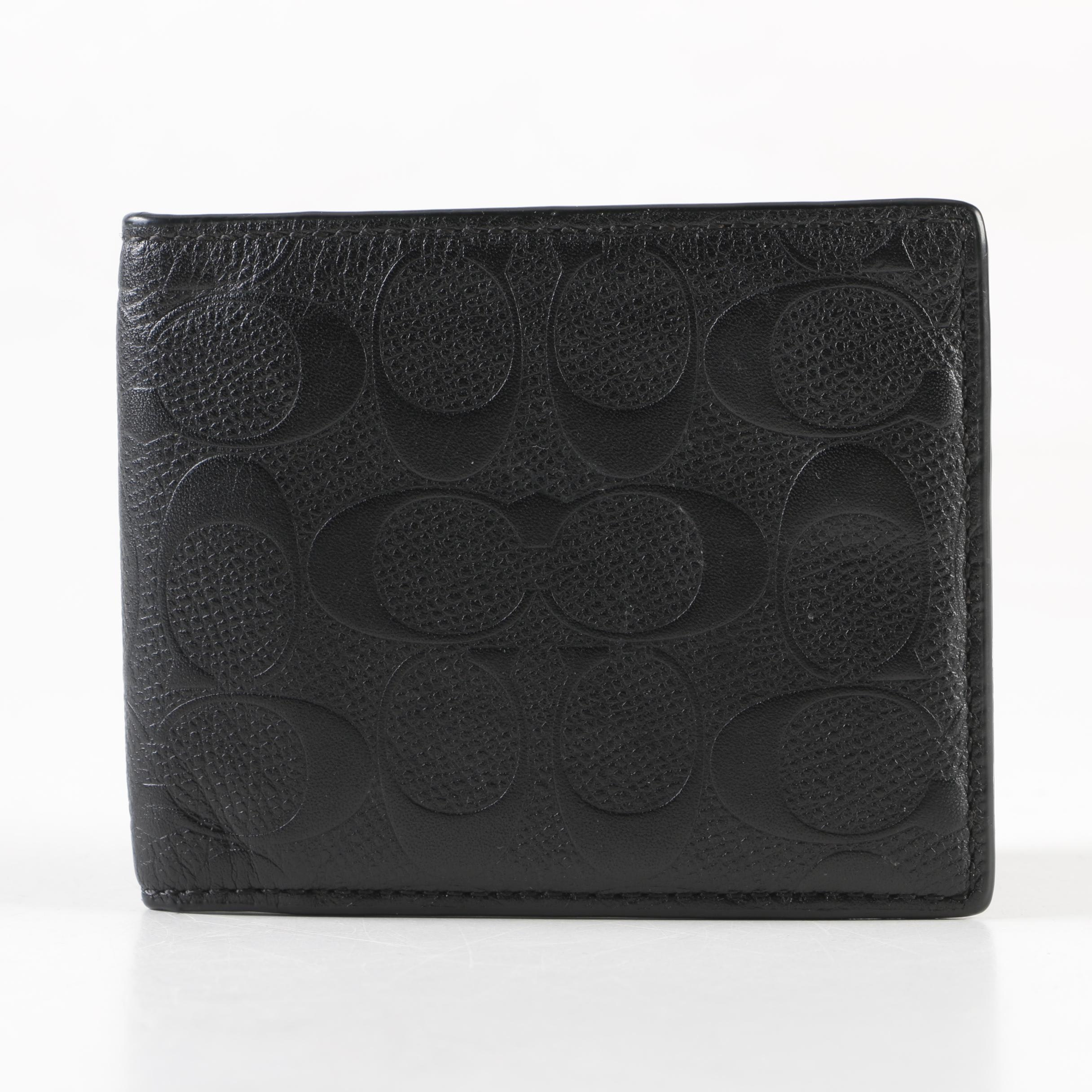 Coach Signature Embossed Black Leather Bifold Wallet