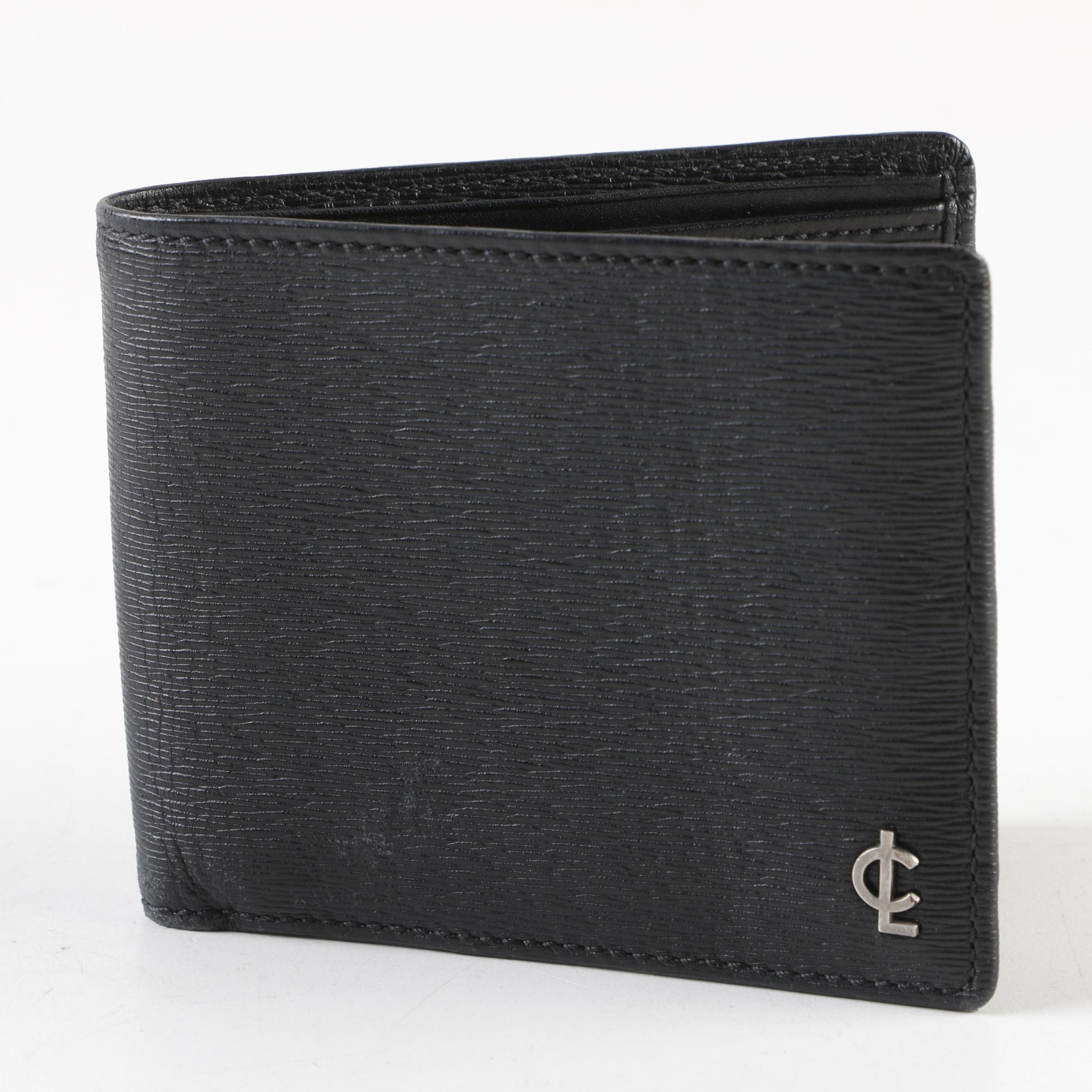 Coach CL Logo Black Textured Leather Folio Wallet
