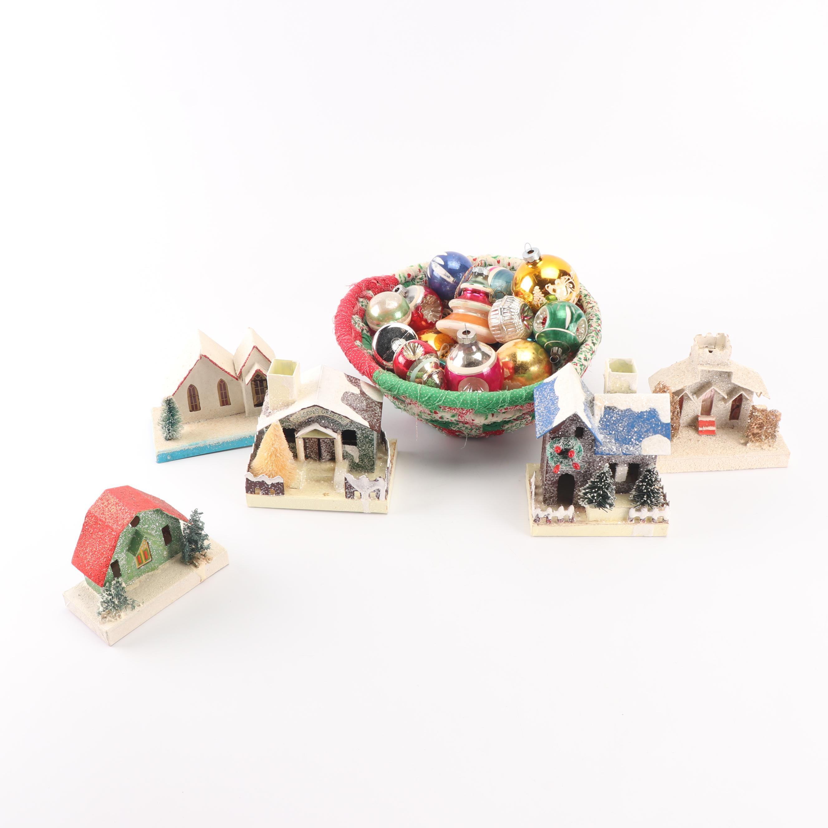 Glass Christmas Ornaments, Basket, and Putz Houses