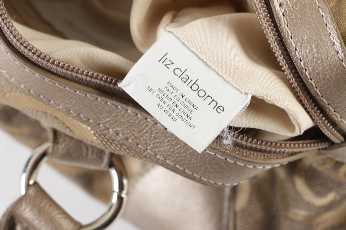 Liz Claiborne Metallic Bronze Logo Fabric And Faux Leather