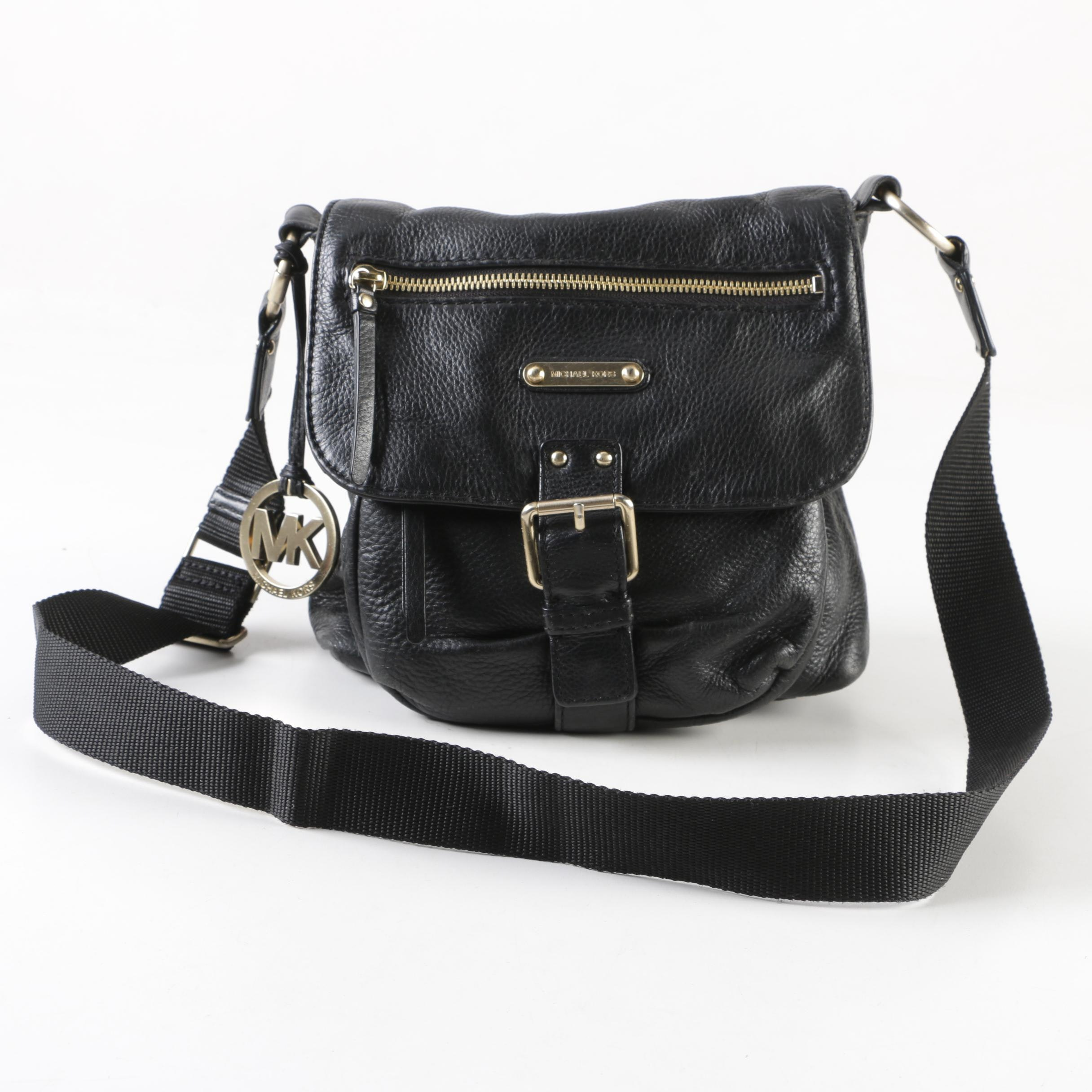 MICHAEL Michael Kors Black Pebbled Leather Shoulder Bag
