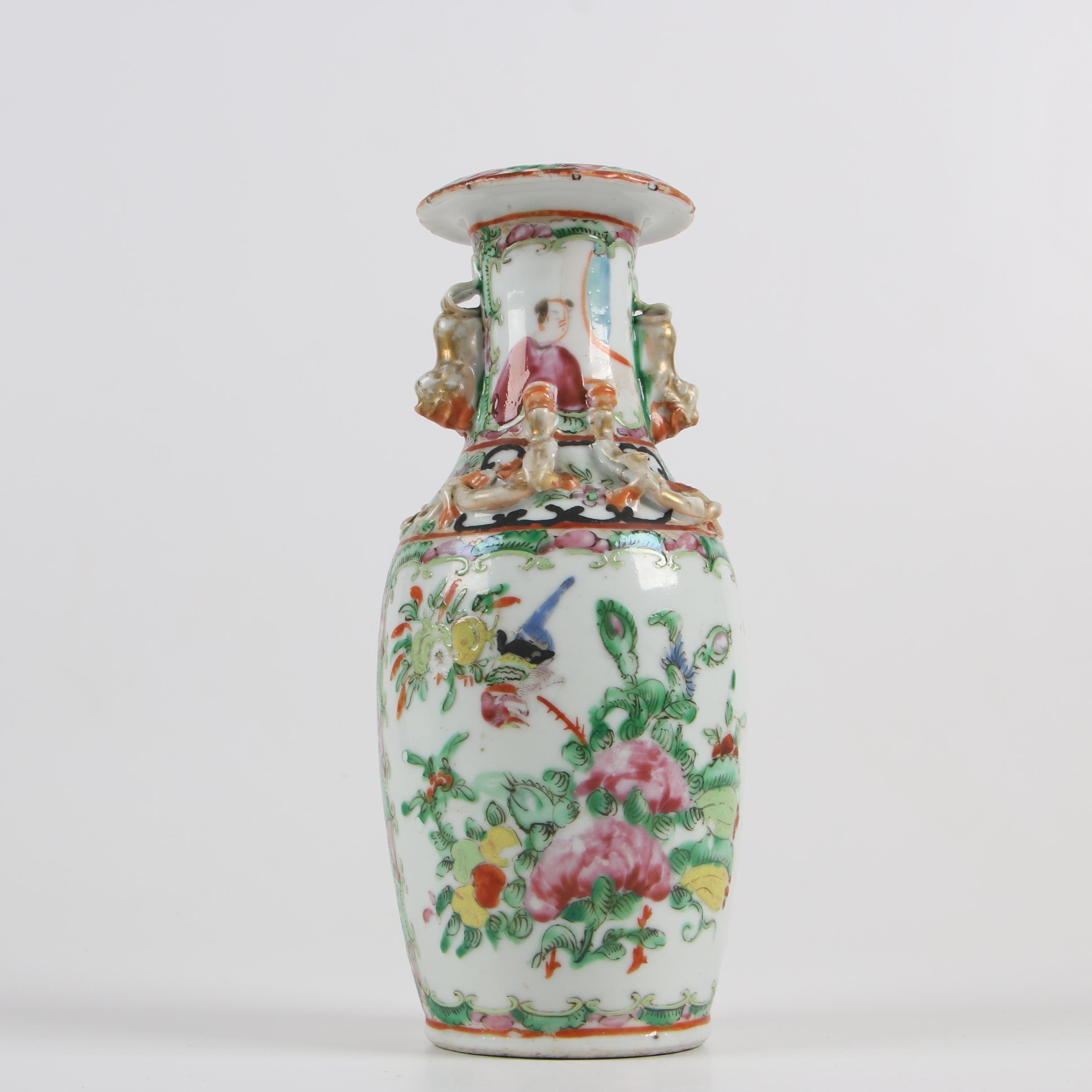 Chinese Rose Medallion Porcelain Vase with Guardian Lion Handles