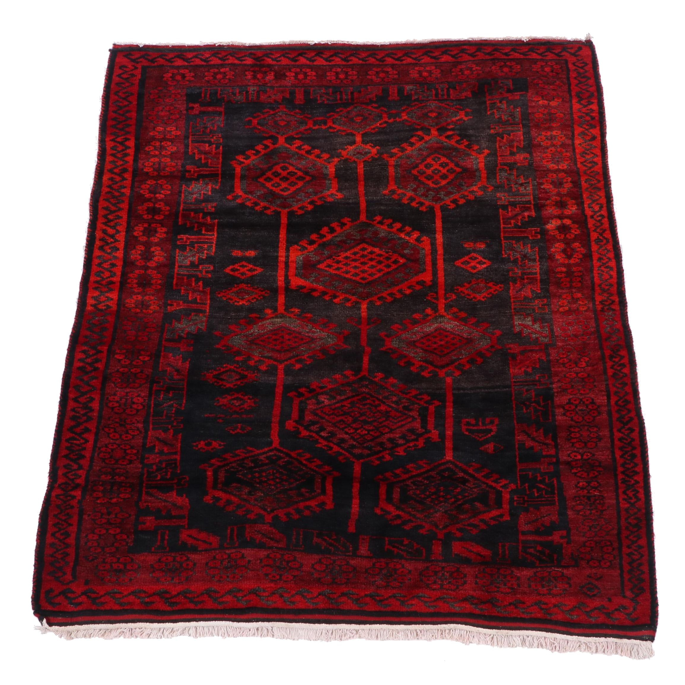 Hand-Knotted Russian Turkmen Wool Rug