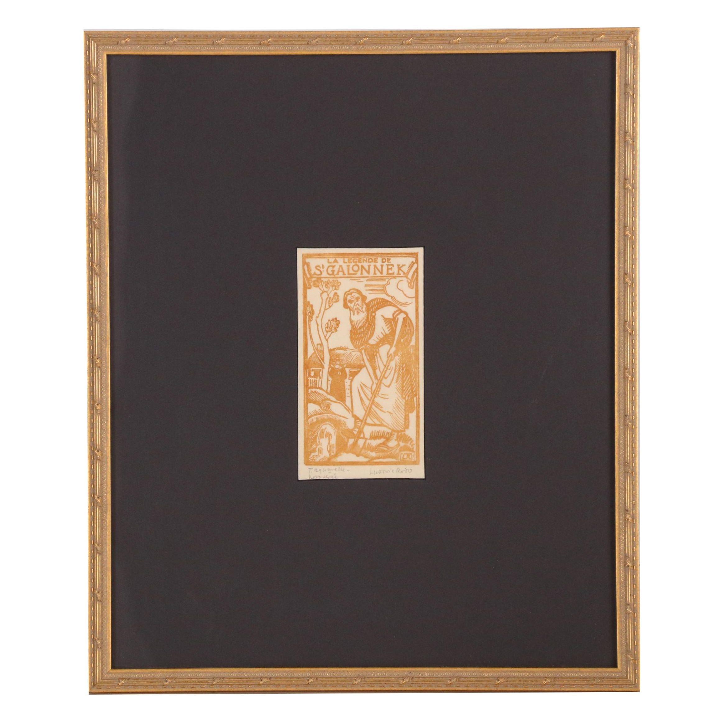 """Ludovic Rodo Woodcut Print """"La Legende de St. Galonnek"""""""