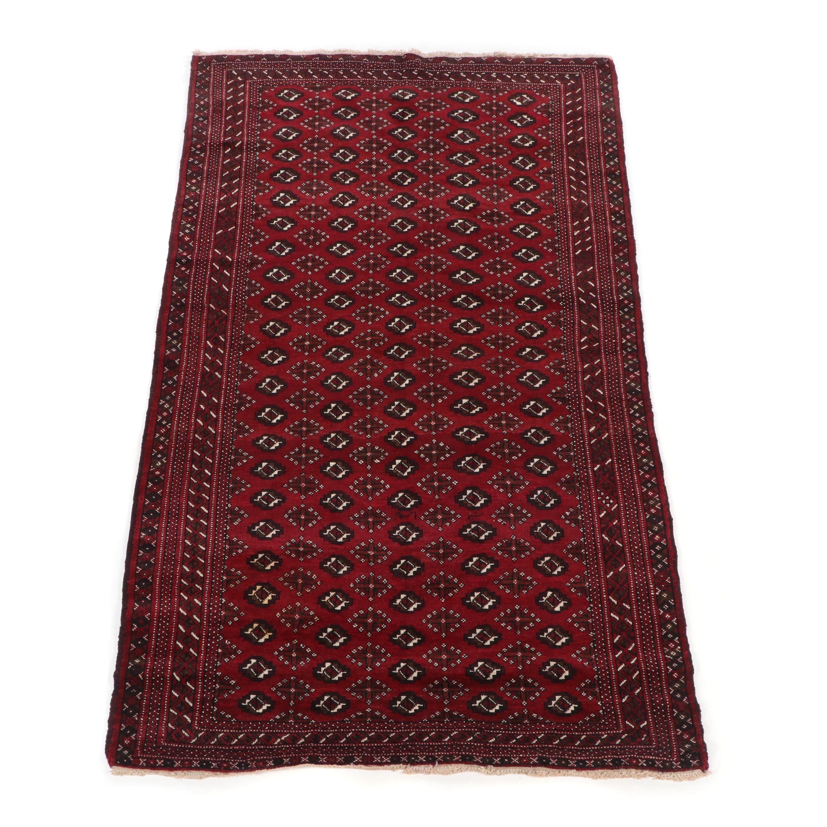 Hand-Knotted Turkoman Bokhara Wool Rug