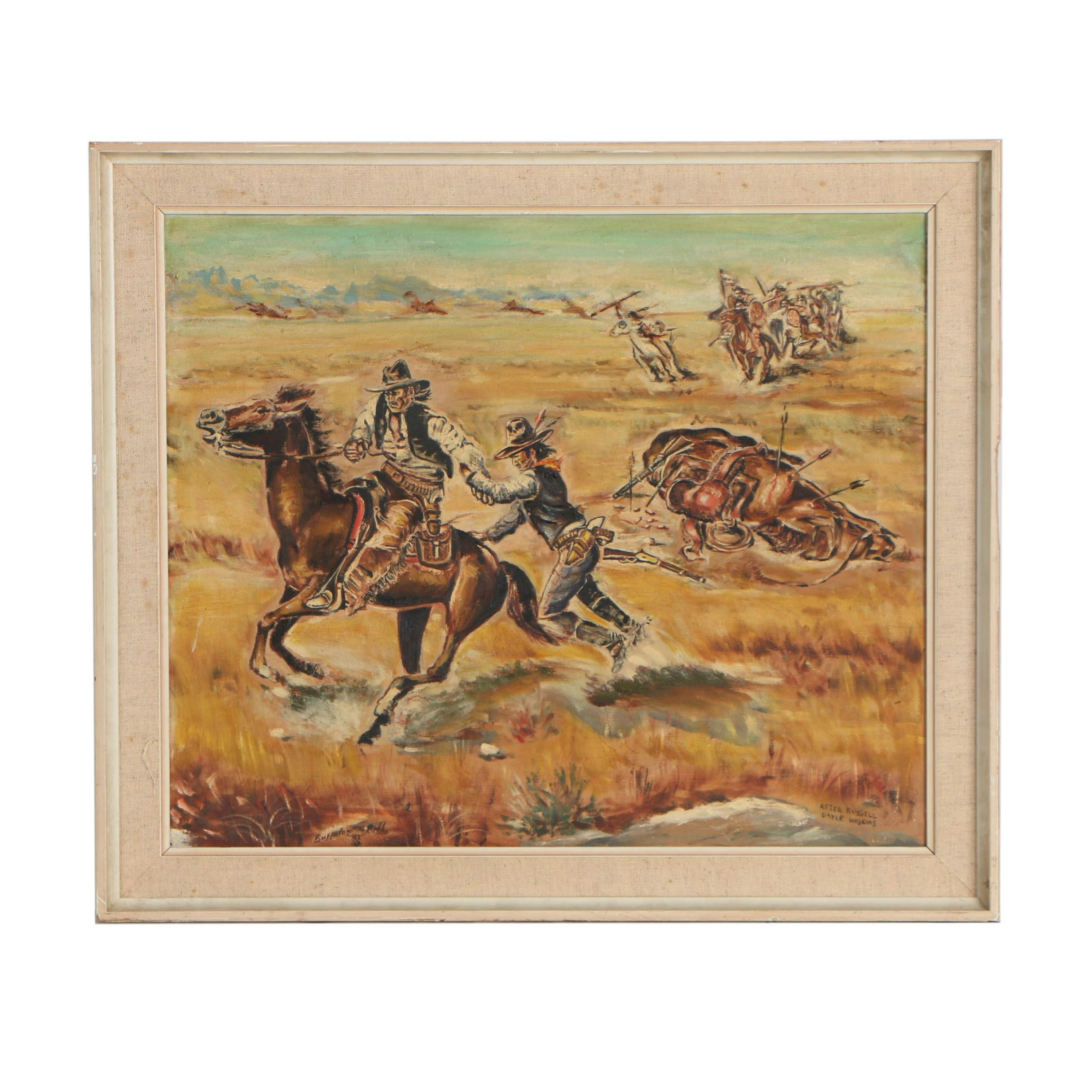 "Mid 20th Century Oil Painting after Gayle Hoskins ""Buffalo Bill"""
