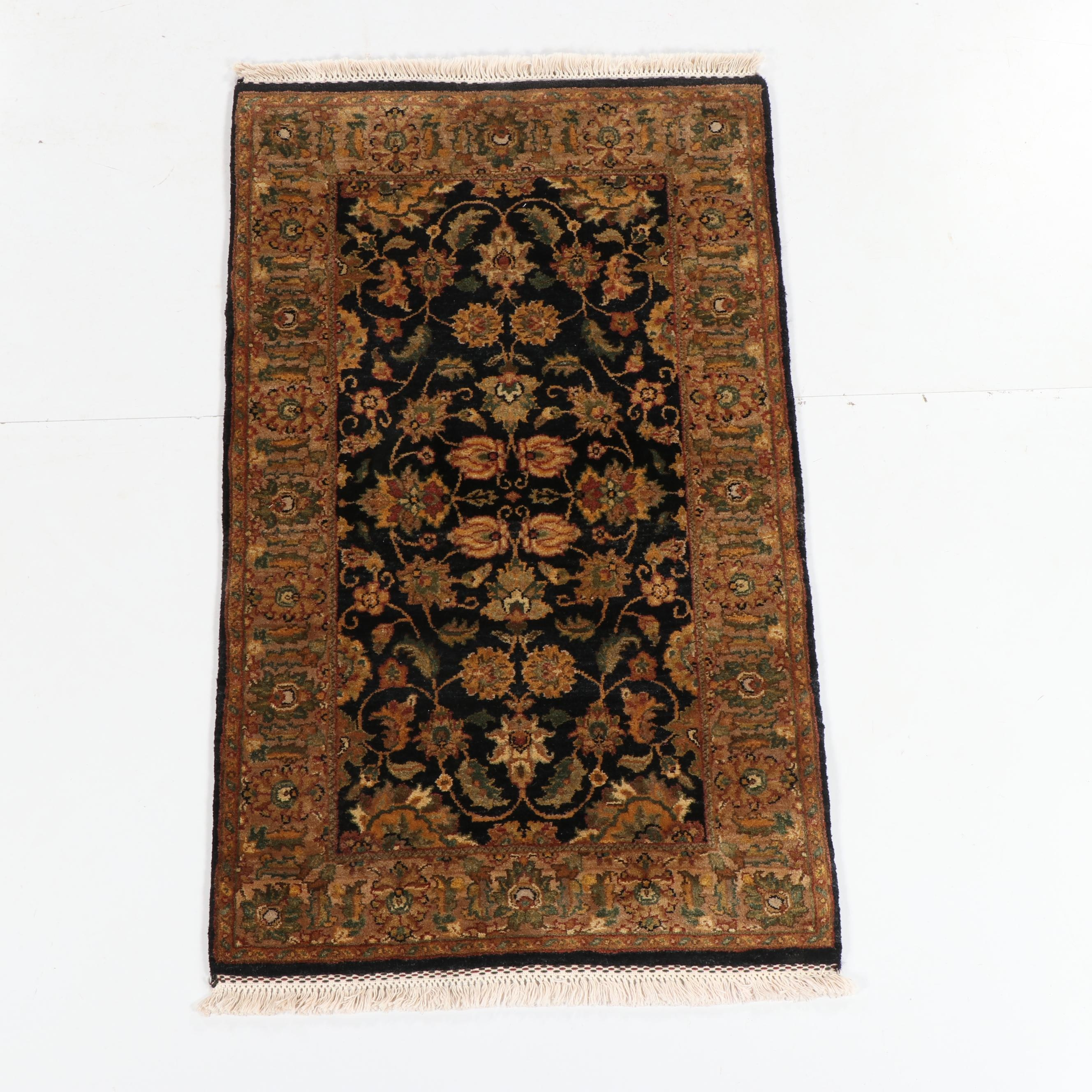 Hand-Knotted Indian Floral Wool Rug