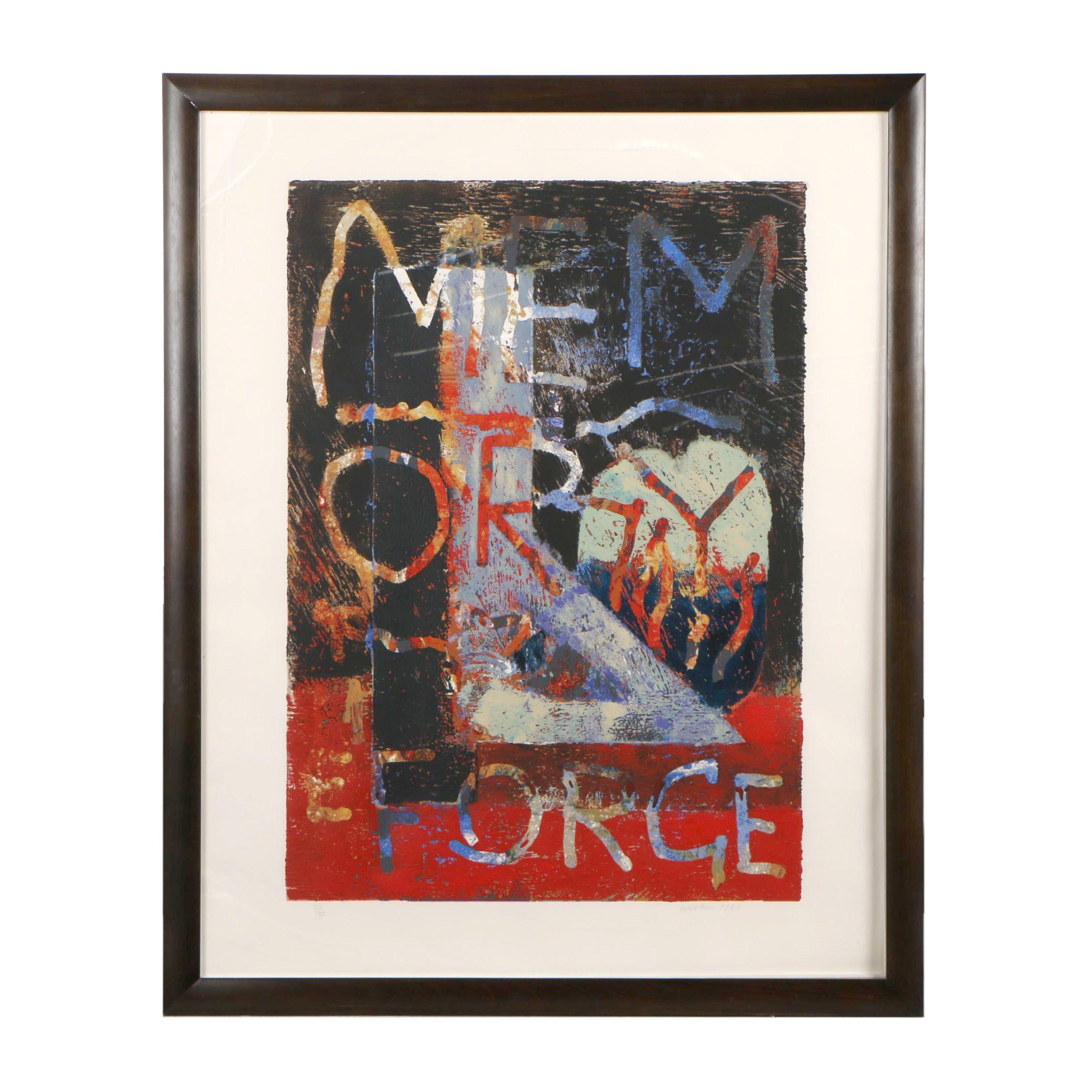 "John Walker 1990 Embellished Serigraph ""Memory II"""