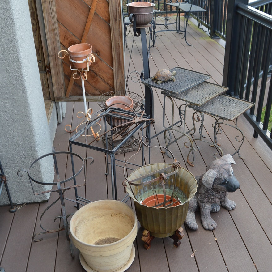 Outdoor Garden Decor, Stacking Tables, Wall Hanger, Plant Stand and Clay  Pots