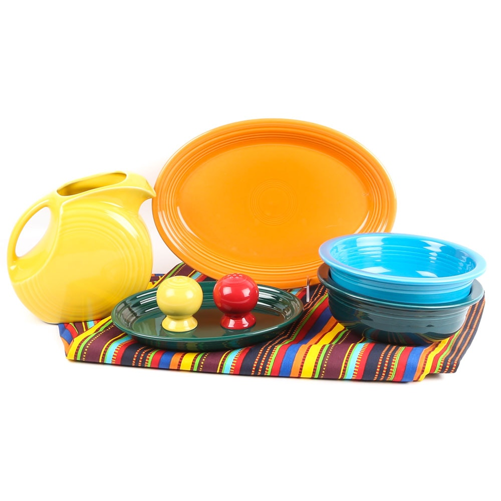 "Homer Laughlin ""Fiesta"" Dinnerware and Tablecloth"