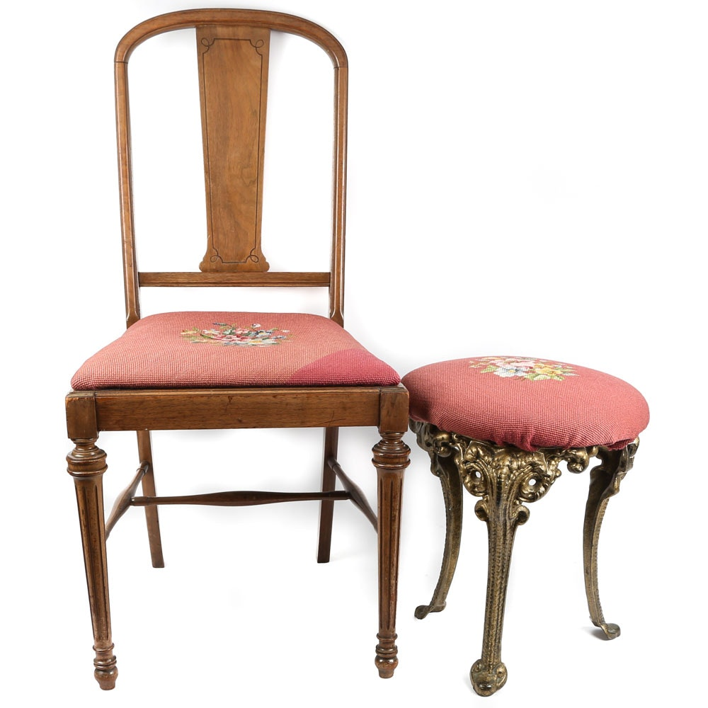 Maple Side Chair and Metal Vanity Stool with Needlepoint Seats, 20th Century