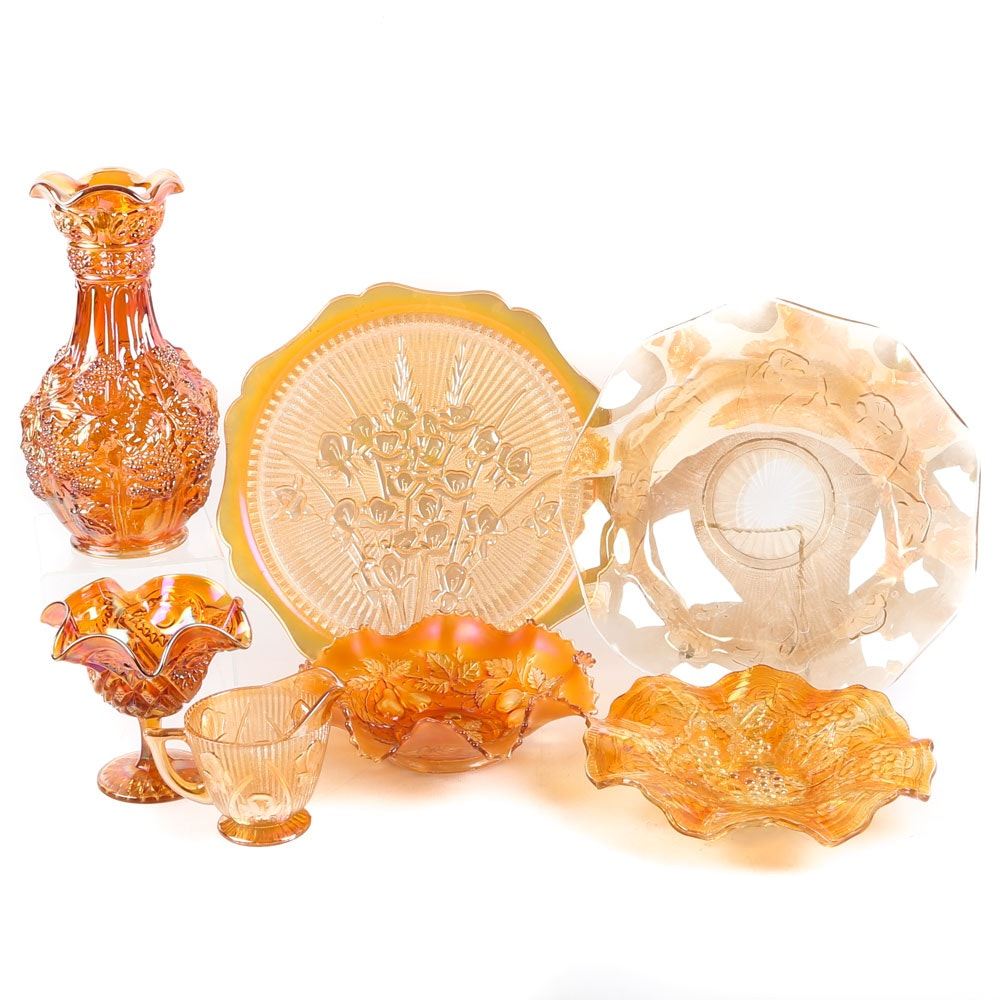 """Carnival Glass Tableware and Vase including Fenton """"Three Fruits"""" Bowl"""