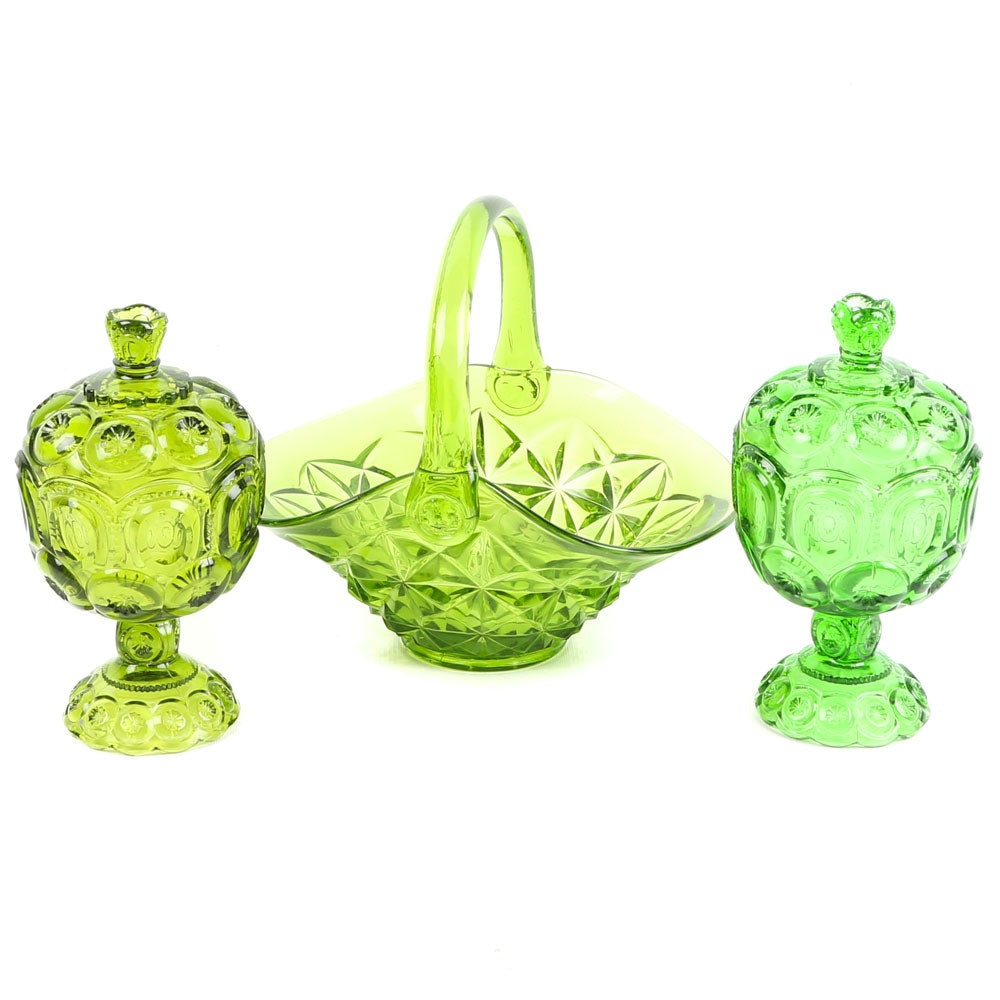 """Moon and Stars"" Green Glass Lidded Candy Dishes with Basket"