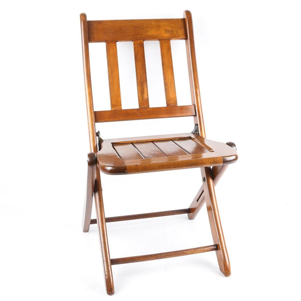 Walnut Stained Wood Children's Folding Chair, 21st Century