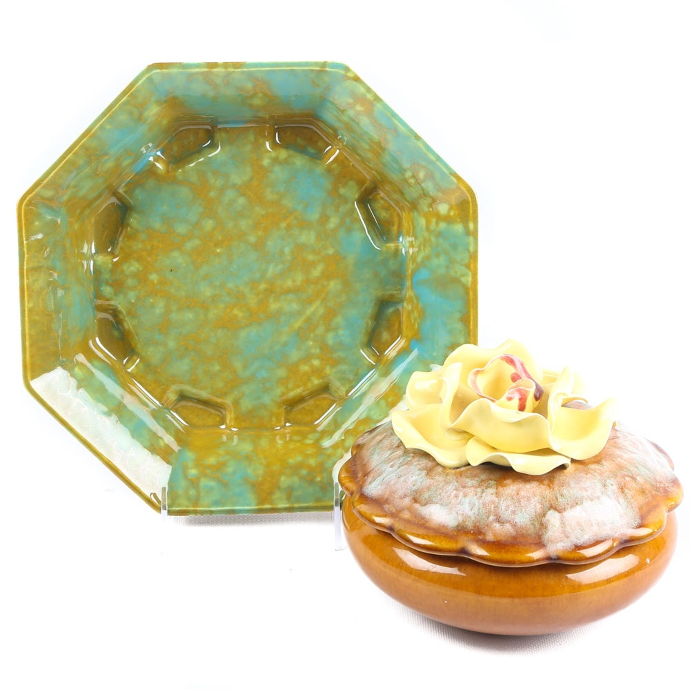 Enchanto California Pottery Ash Receiver and Yellow Rose Lidded Candy Dish
