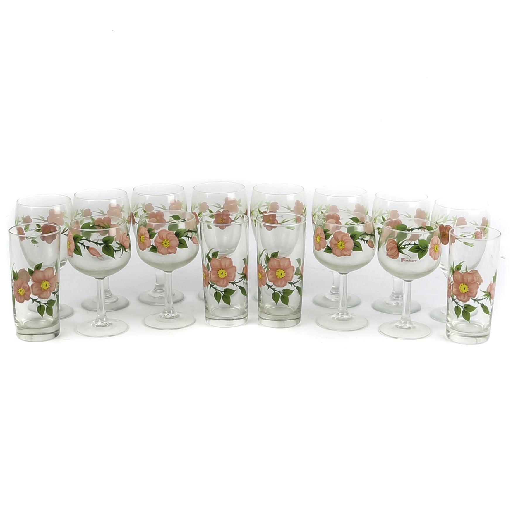 "Franciscan ""Desert Rose"" Glass Stemware and Tumblers"