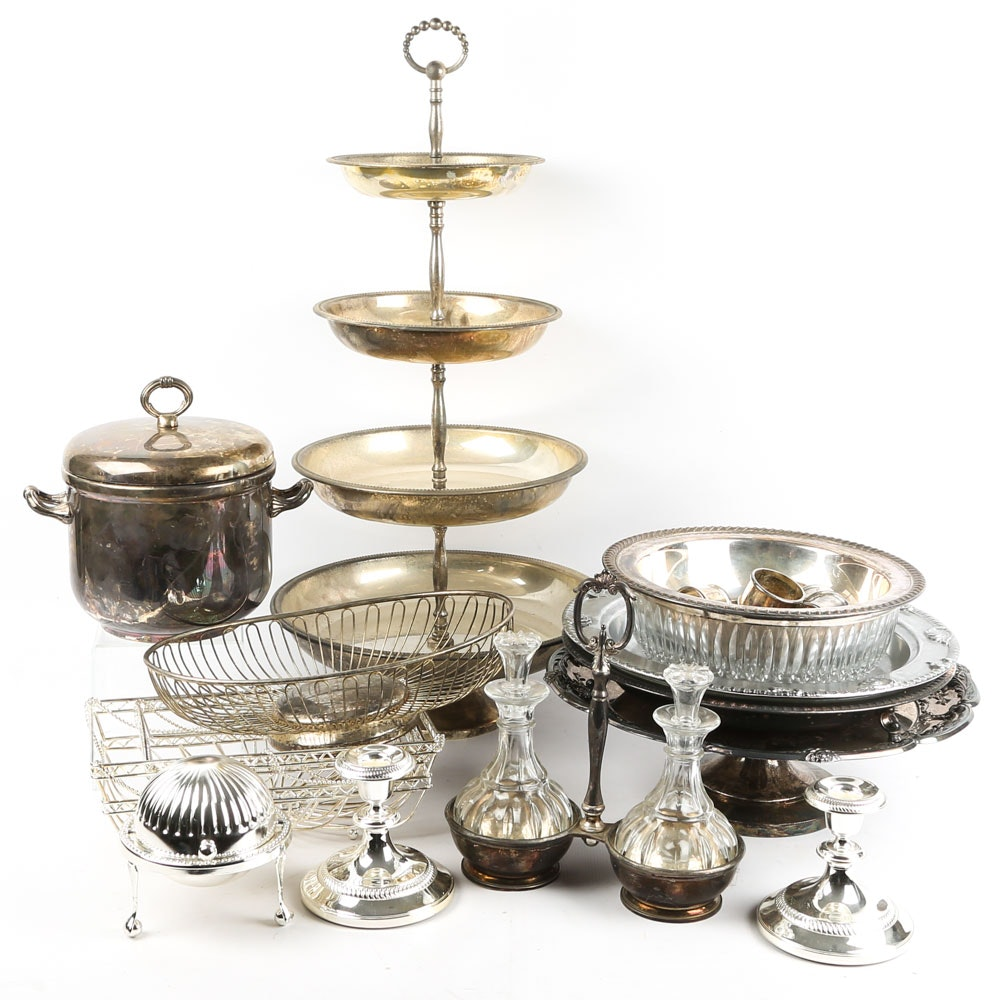 Silver Plate Four-Tier Server with Ice Bucket, Cruet Set, and Other Serveware