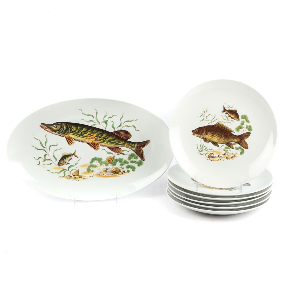 Haaman Israel Fish Motif Dinner Plates and Oval Serving Platter