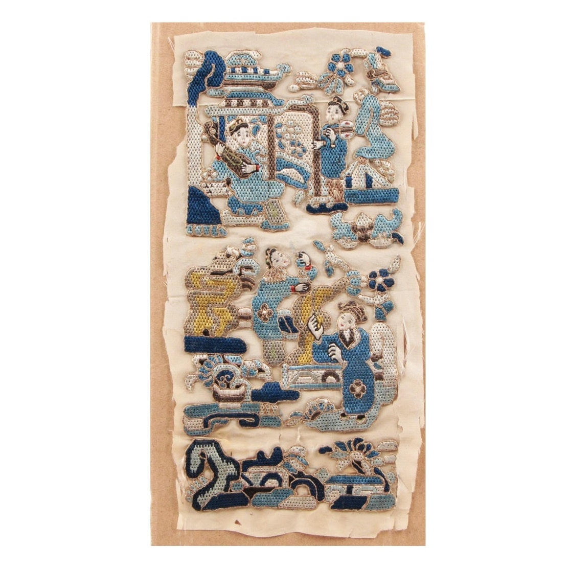 Chinese Embroidered Silk Panel, Qing Dynasty