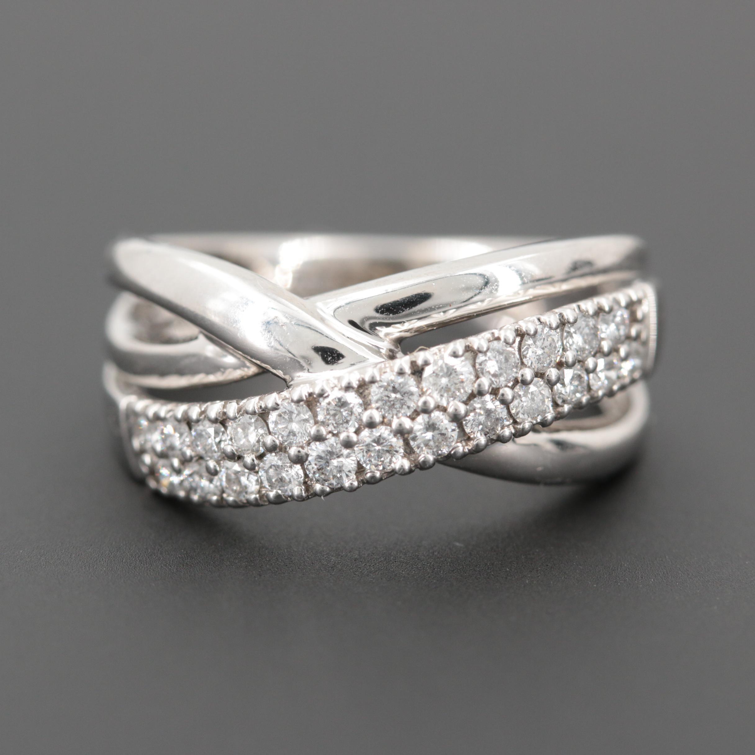 14K White Gold Diamond Cross Over Ring