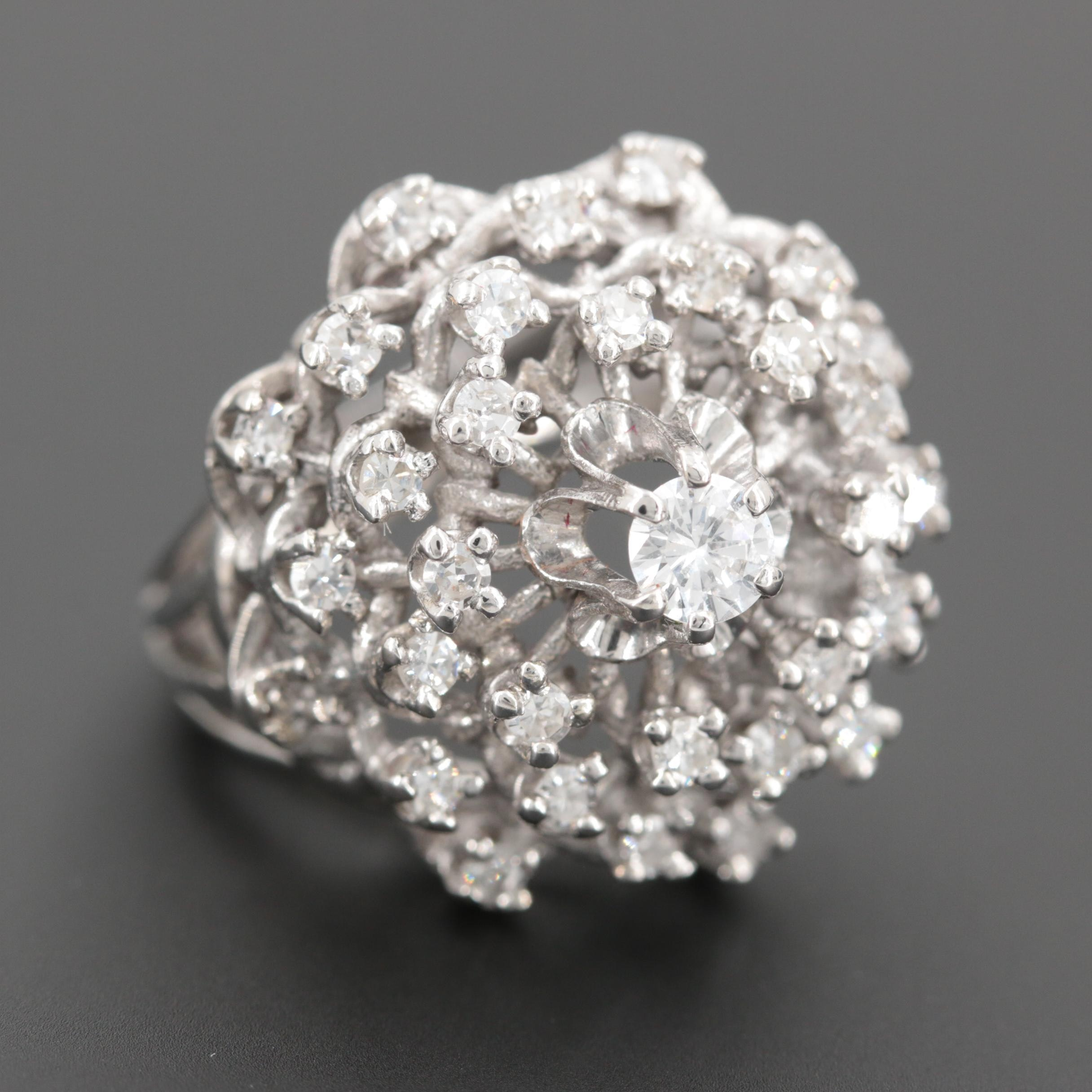 14K White Gold 1.21 CTW Diamond Ring