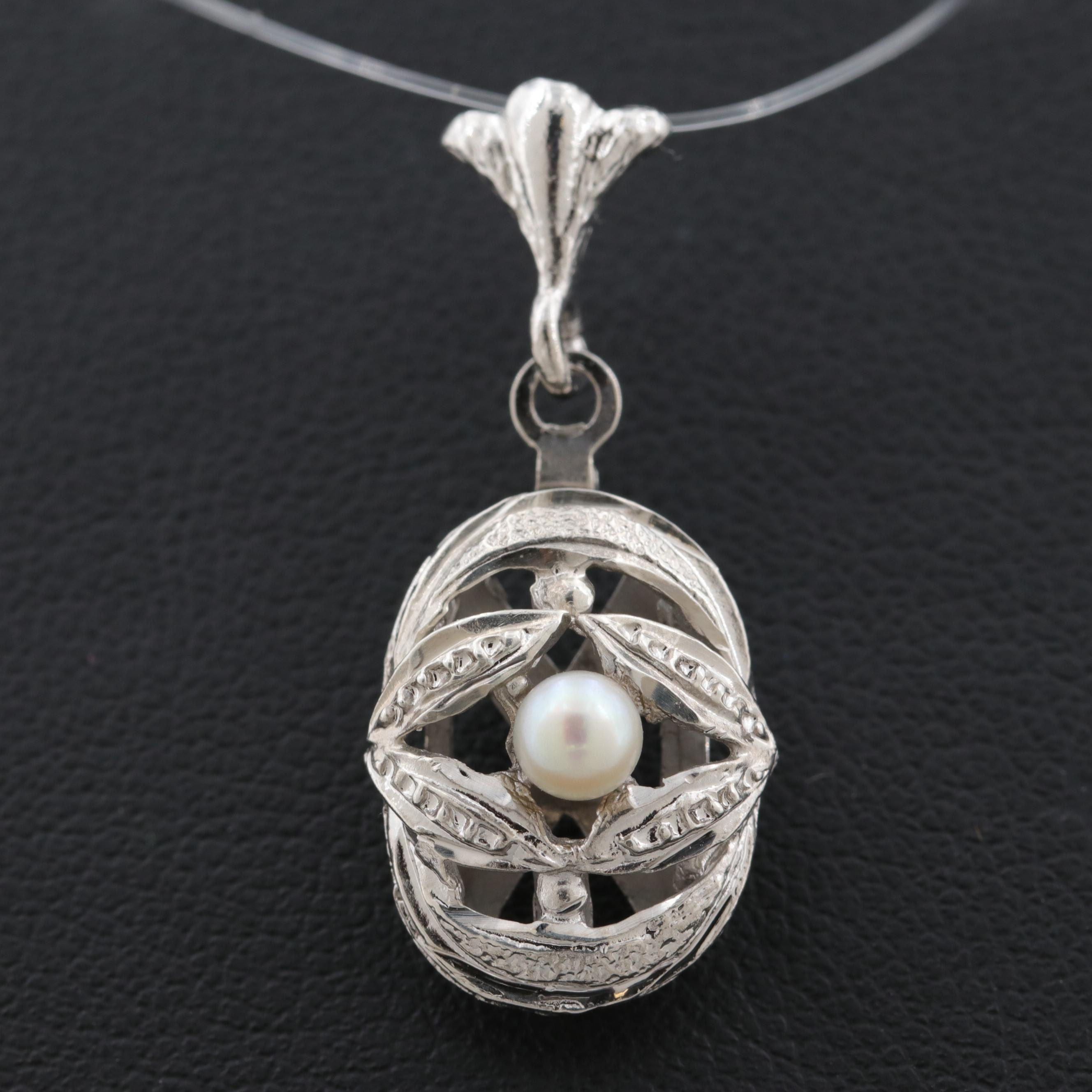 835 Silver Cultured Pearl Pendant