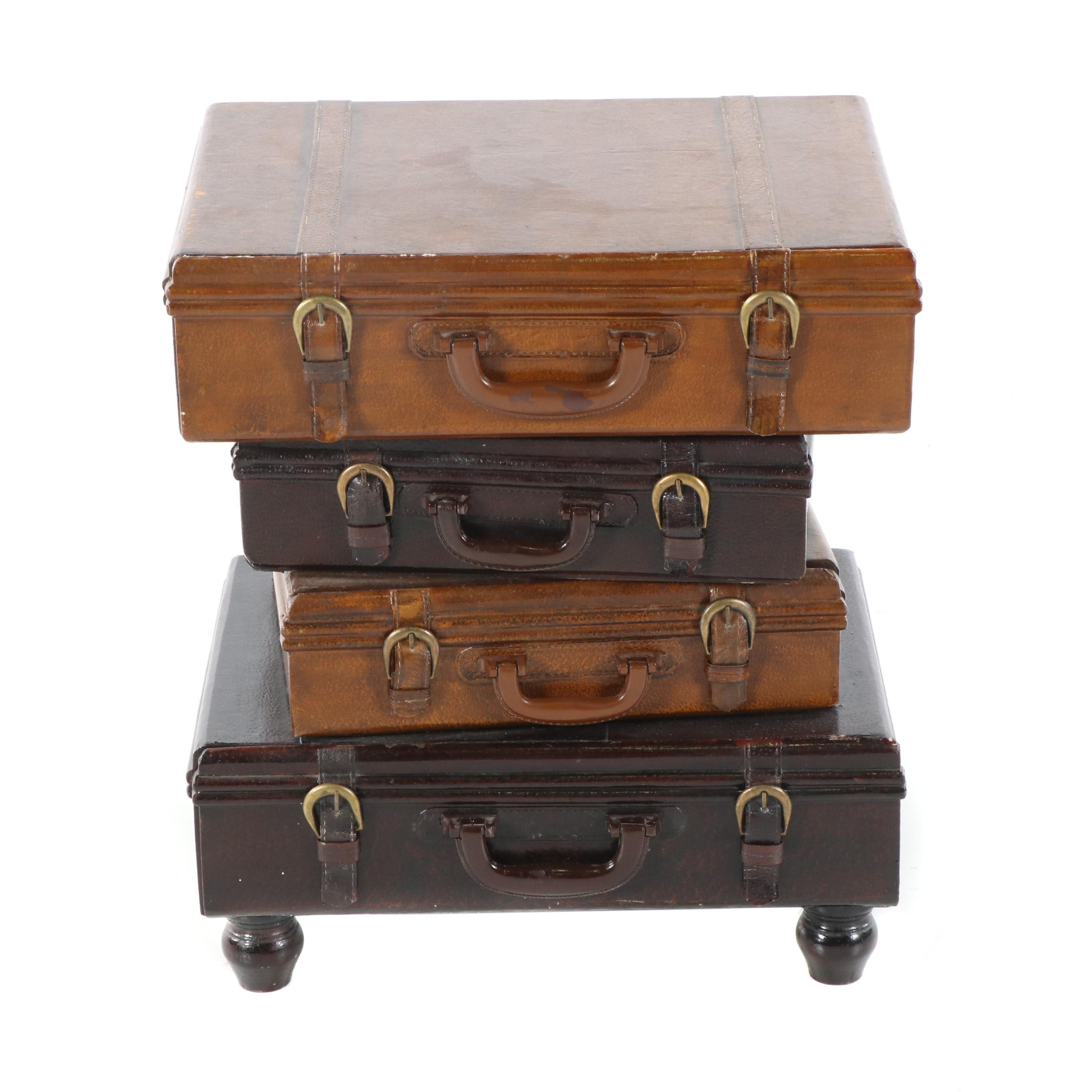 Painted Wood Four-Drawer Luggage Motif Side Table, 21st Century