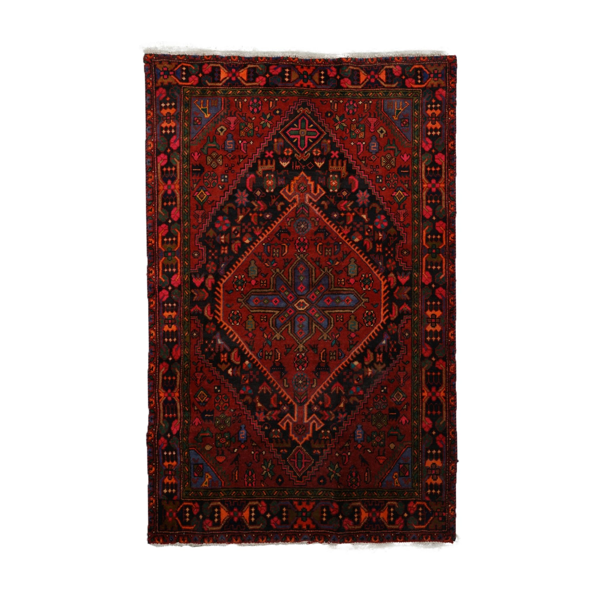 Hand-Knotted Persian Luri Pictorial Wool Rug