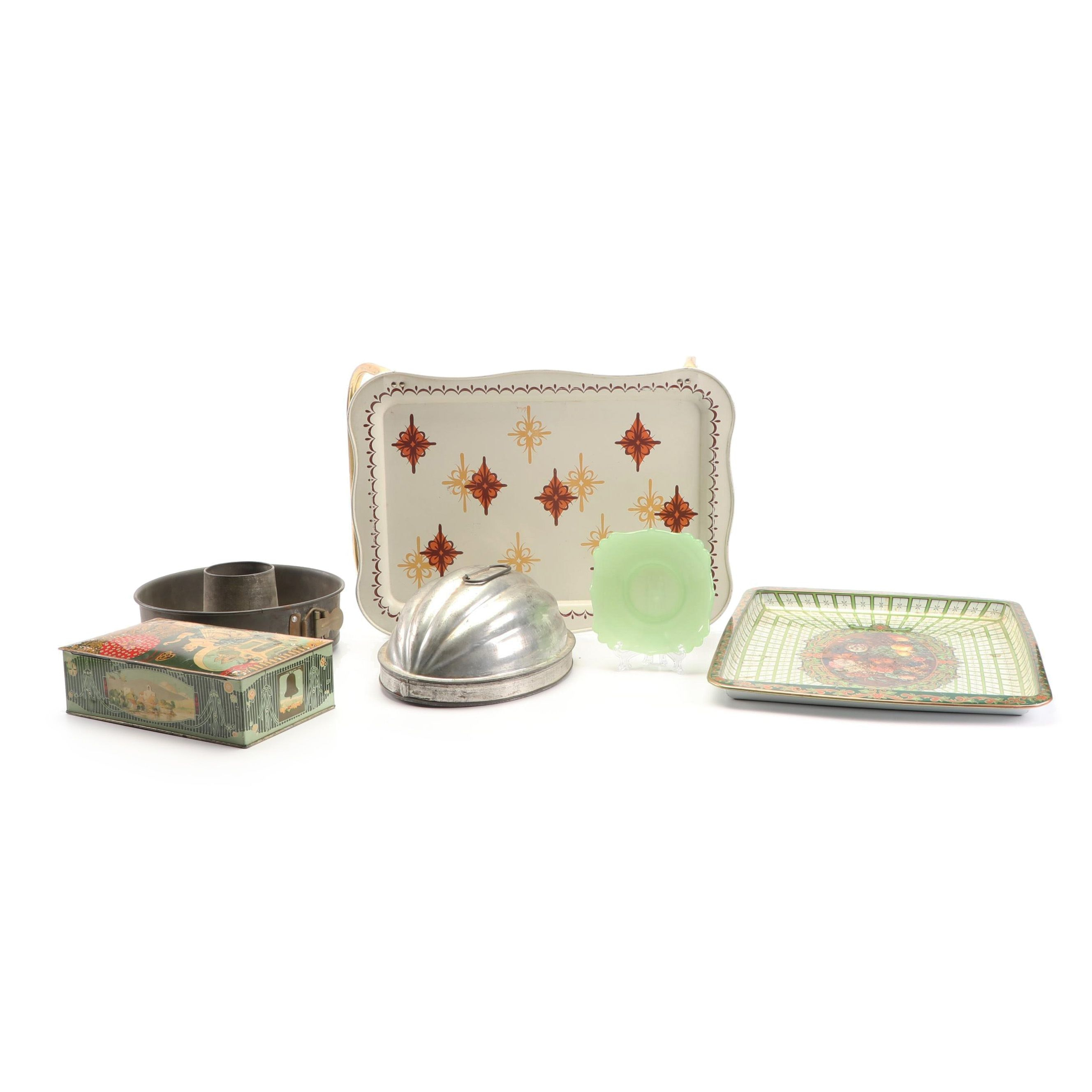 Vintage Metal Trays and Baking Molds with Tin Box and Jadeite Plate