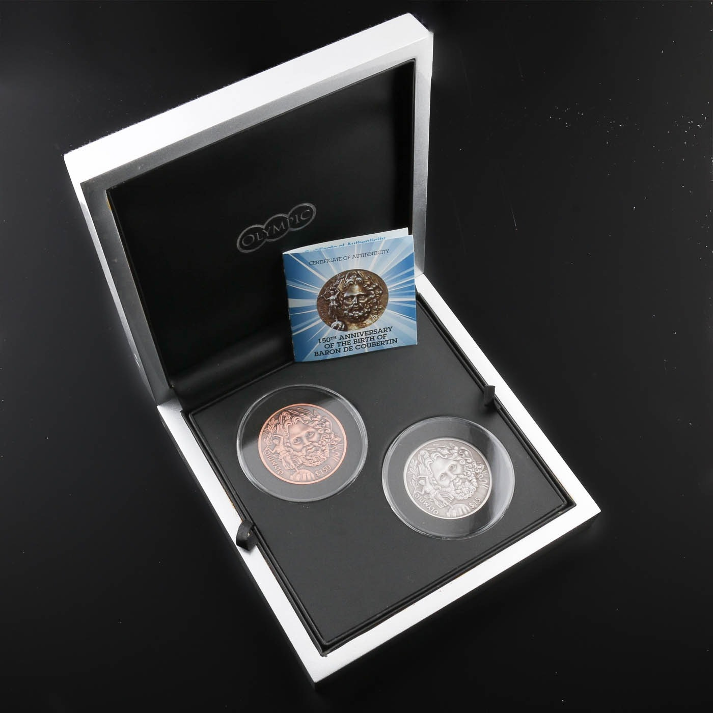 2013 British Virgin Islands Baron De Coubertin Commemorative Coin Set