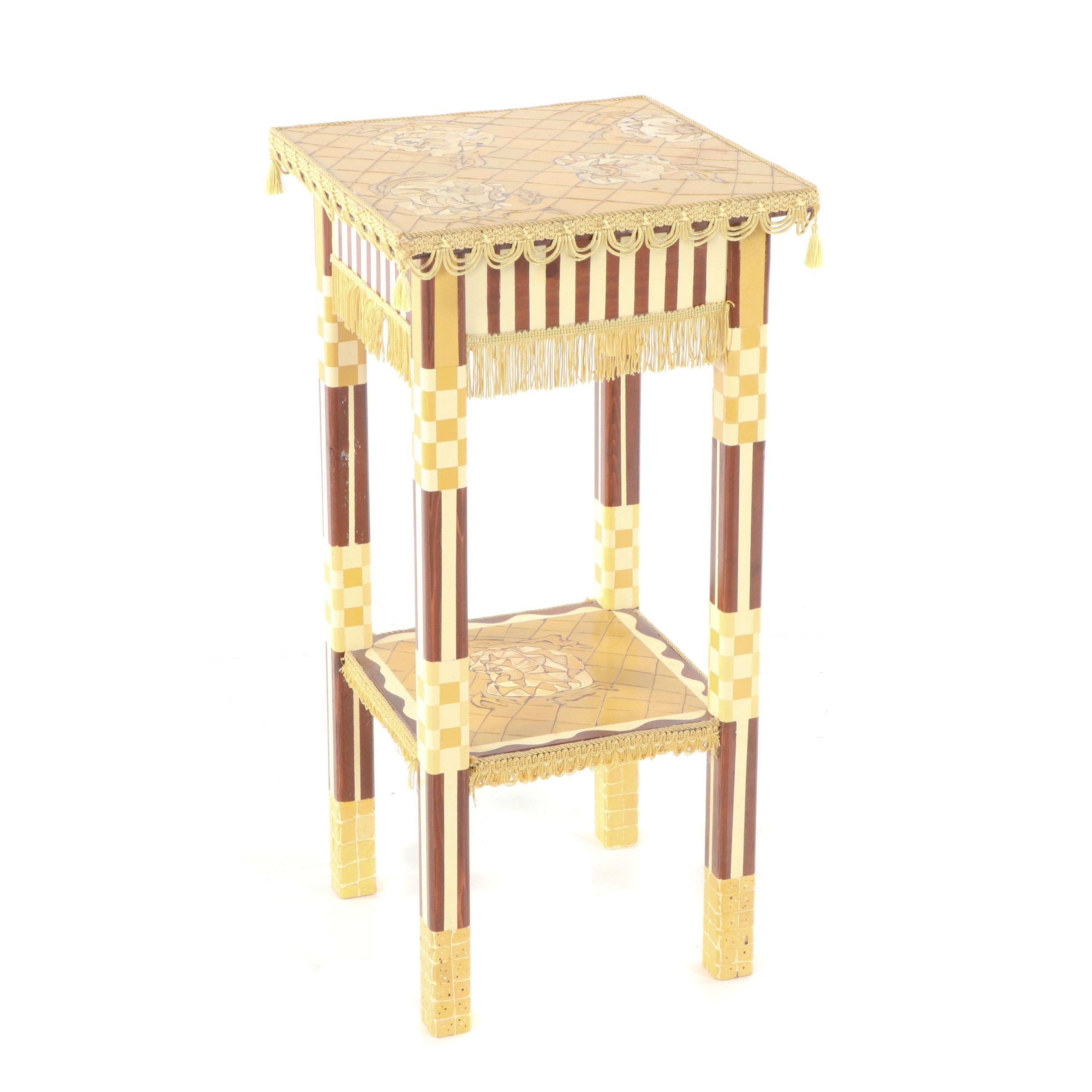 Painted Wood Two-Tier Side Table, 21st Century