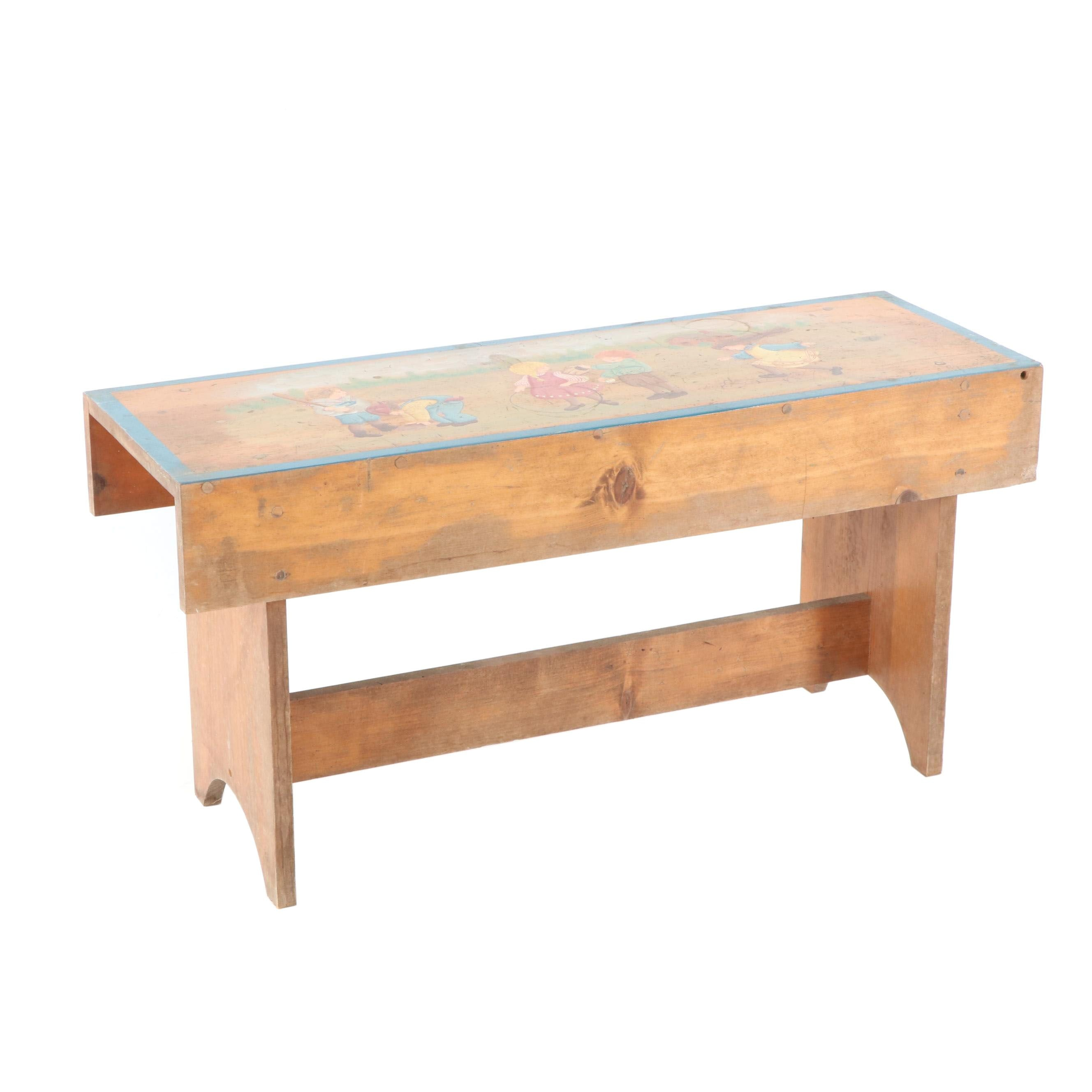 Pine Children's Bench with Painted Motif, Late 20th Century