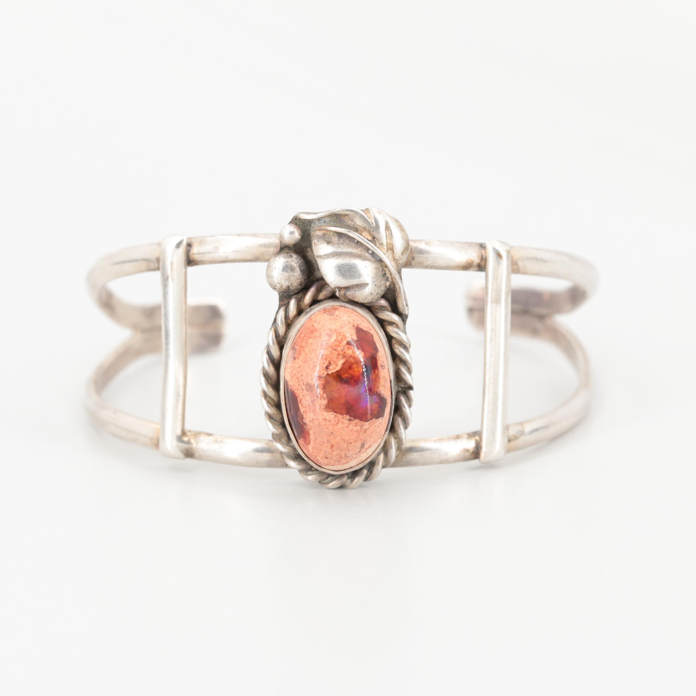 Southwestern Style Sterling Silver Boulder Opal Cuff Bracelet