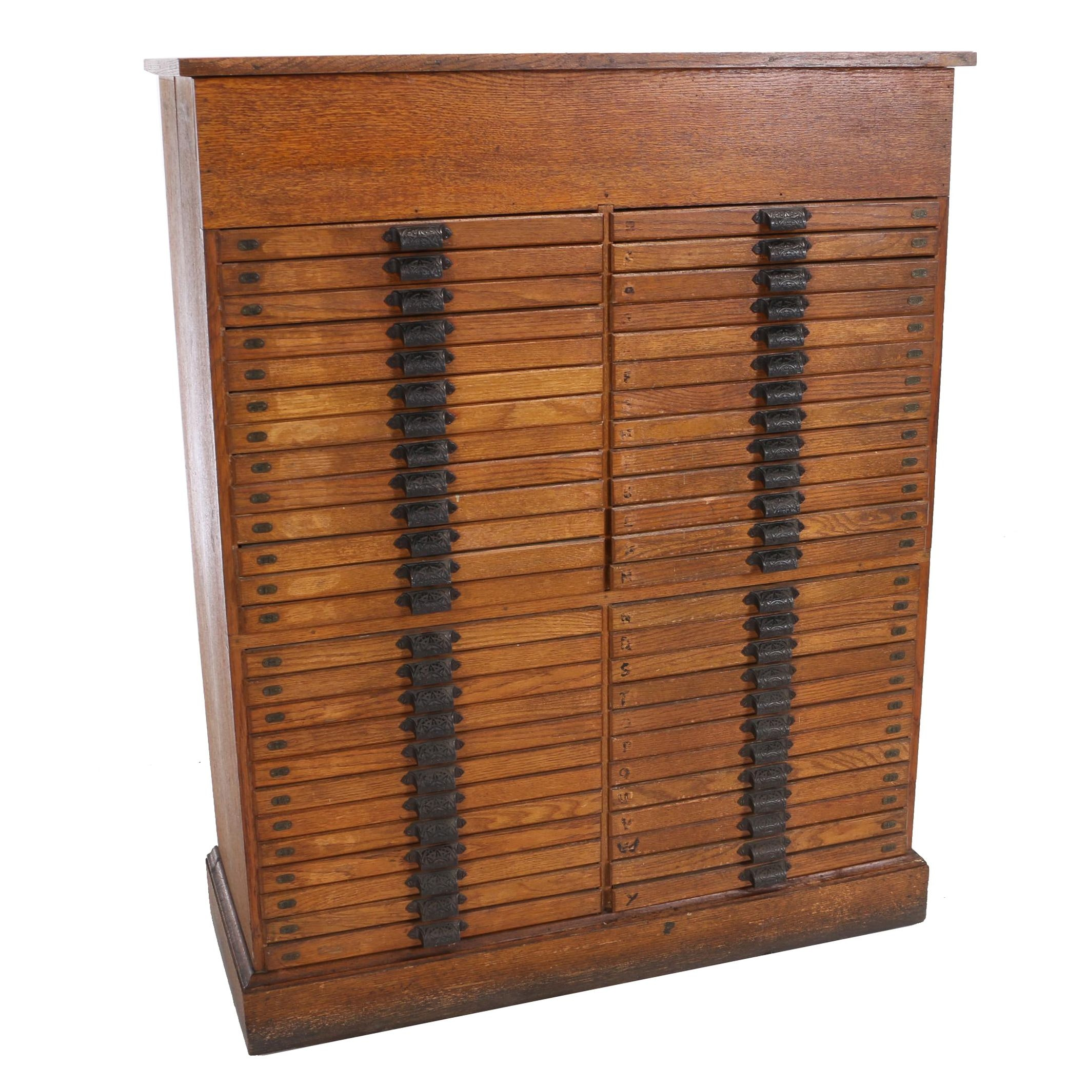 Oak Fifty-Drawer Printer's Cabinet with Hinged Lid, Circa 1900