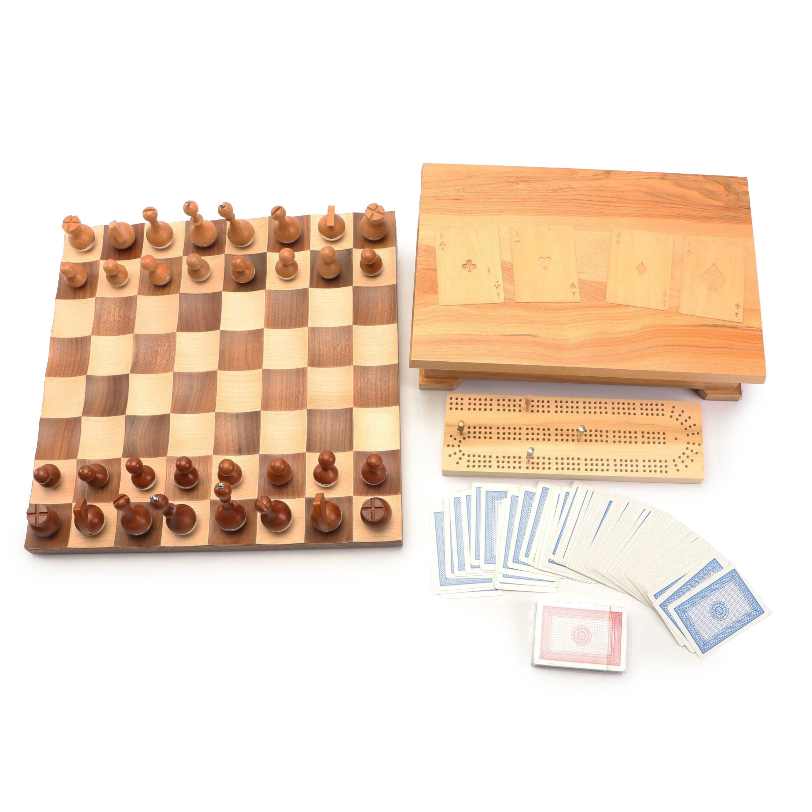 Wobble Piece Chess Board and Cribbage Set