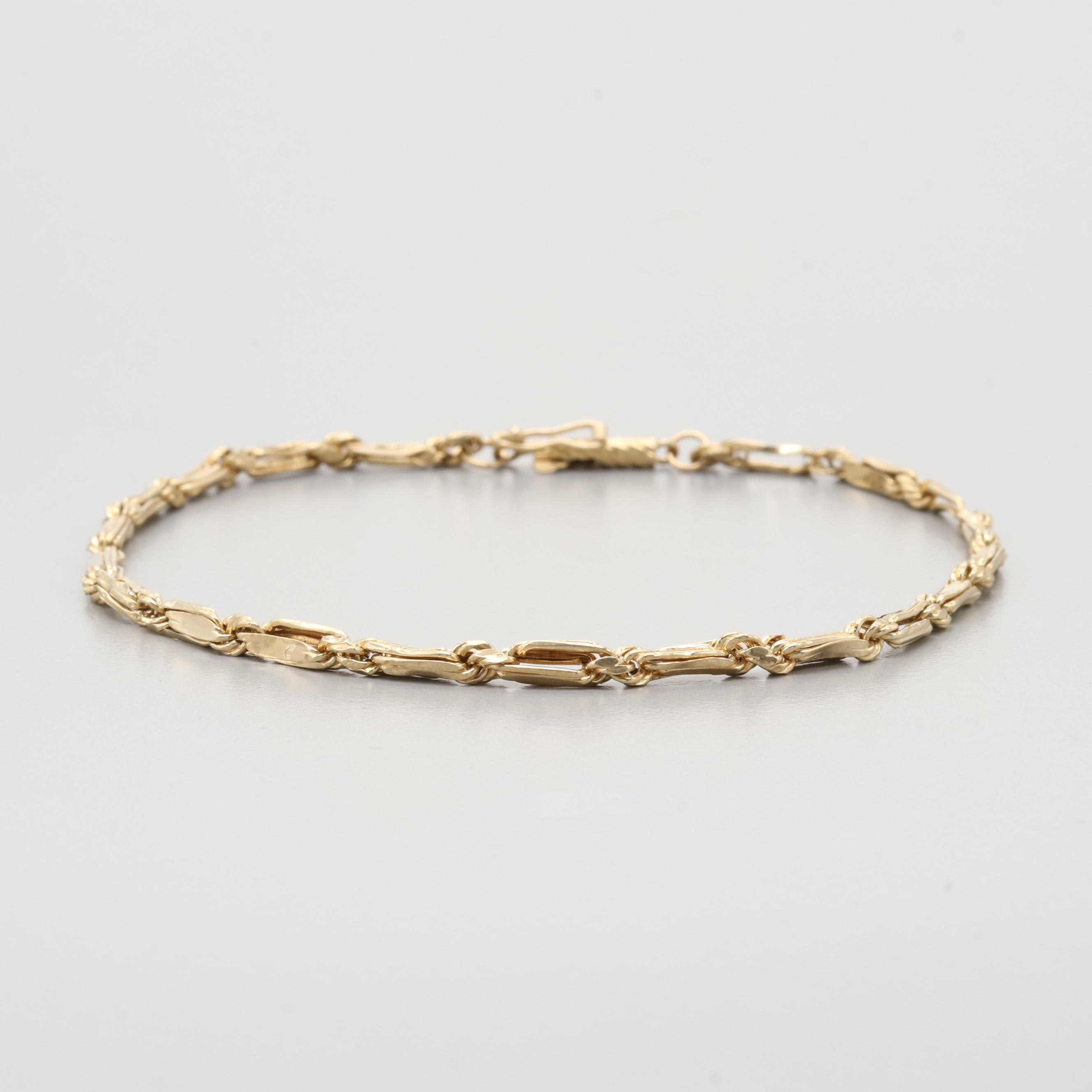 14K Yellow Gold Hollow Bracelet