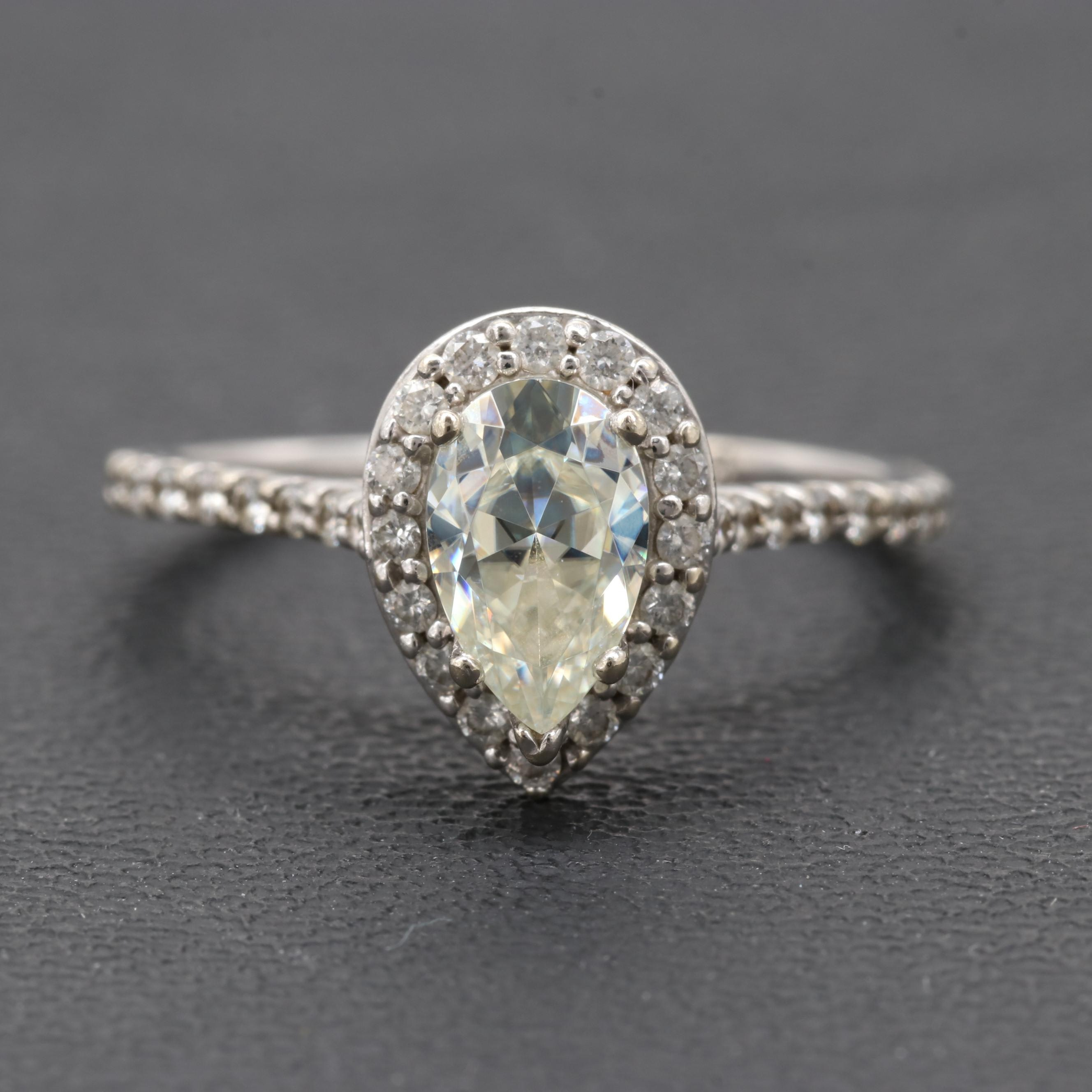 14K White Gold Synthetic Moissanite And Diamond Ring