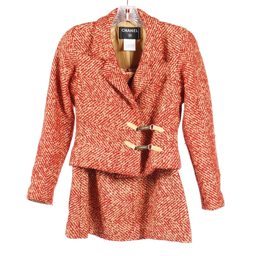 Chanel Red and Tan Tweed Skirt Suit Featuring Metallic Gold Thread