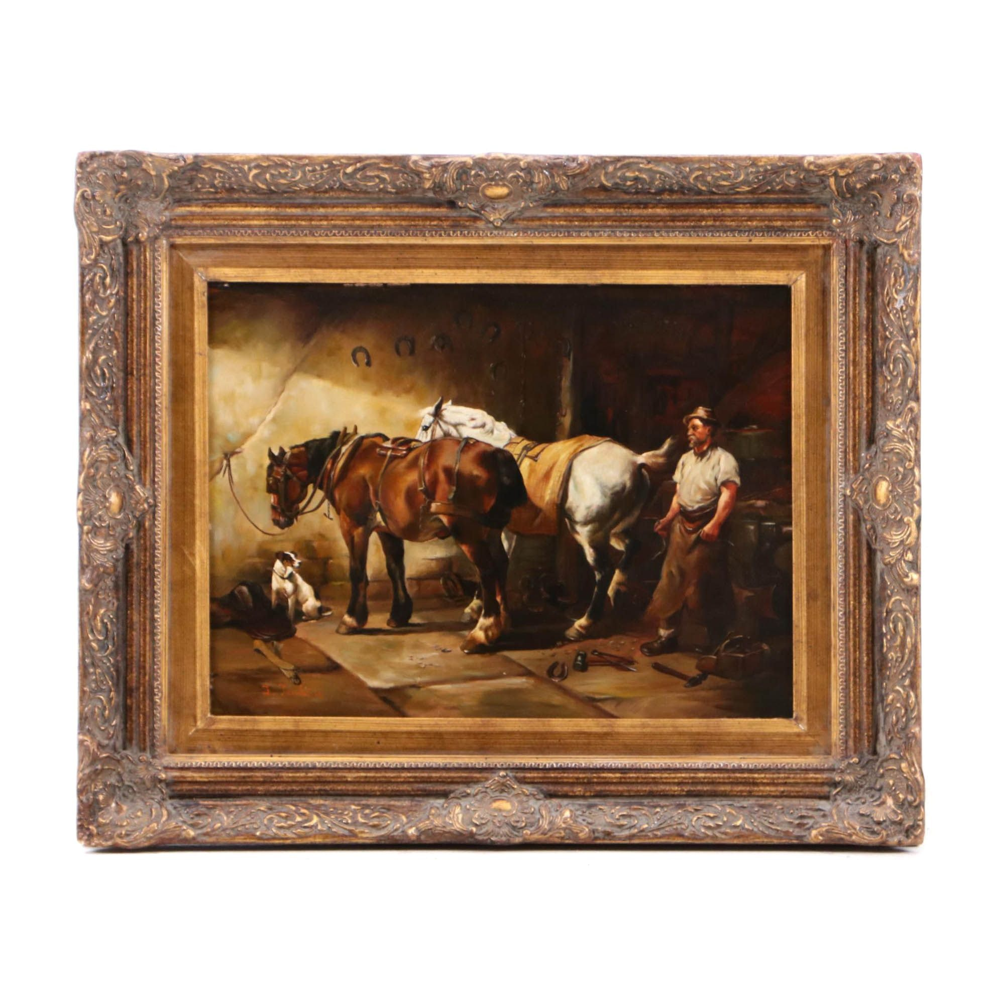 L. Jenkins Oil Painting of Blacksmith and Horses