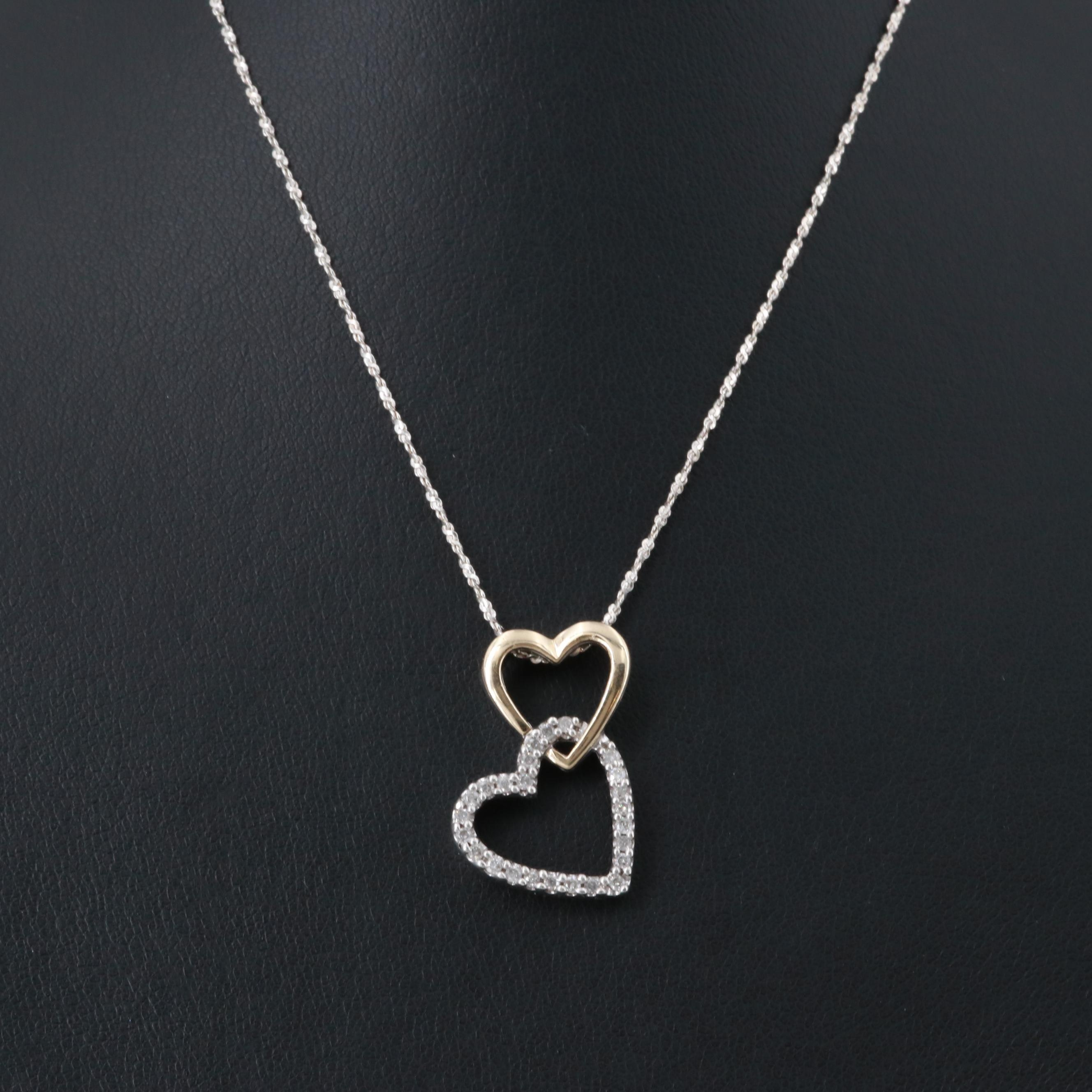Sterling Silver Diamond Heart Pendant Necklace with 14K Rose Gold Accents
