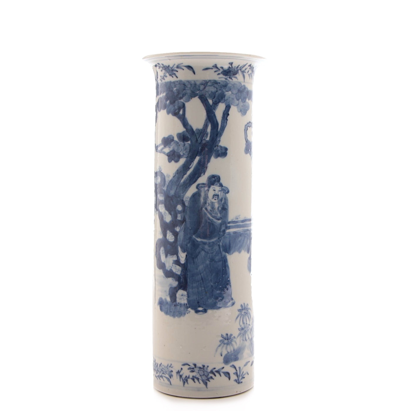 Chinese Blue and White Cylindrical Porcelain Vase, Qing Dynasty