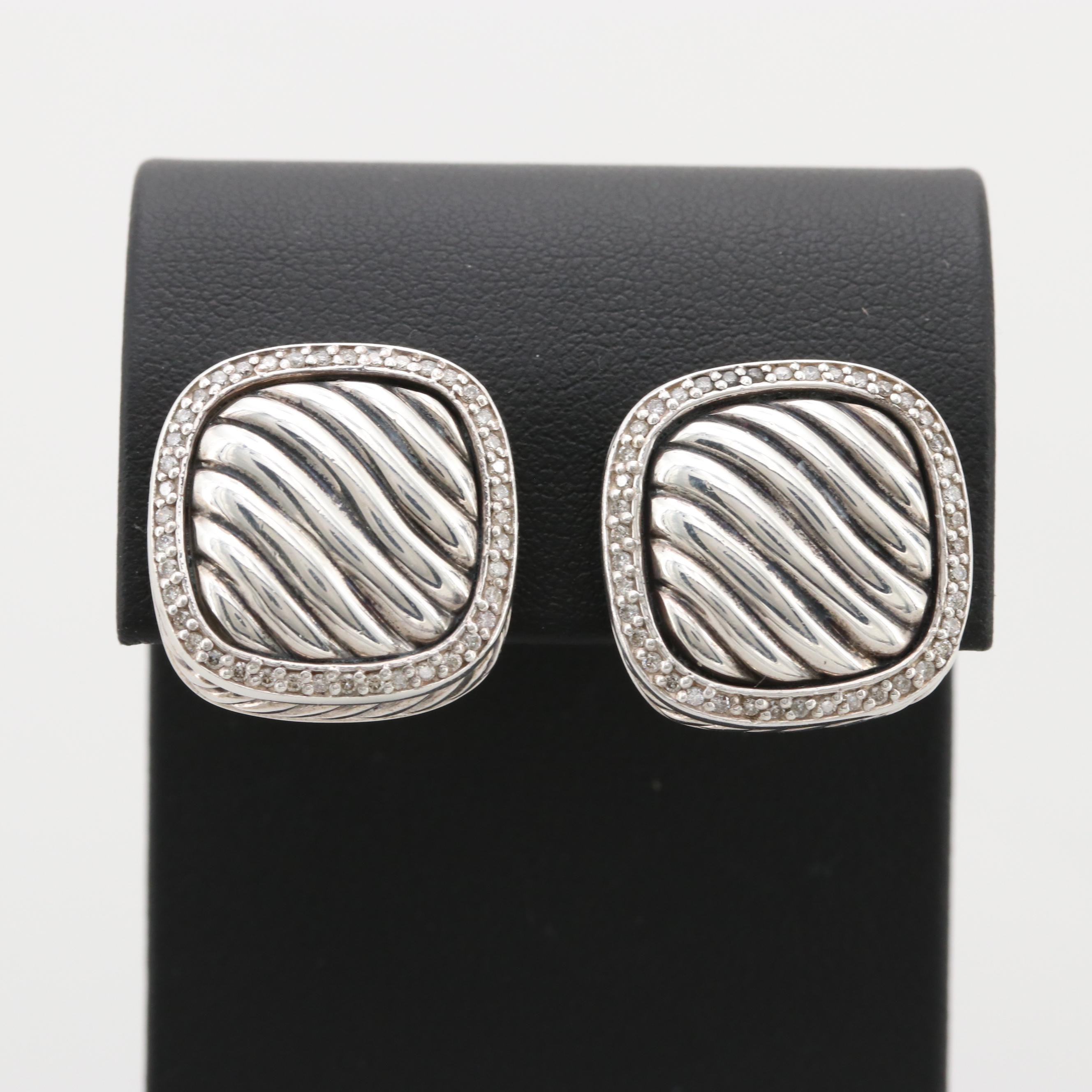 David Yurman Sterling Silver Diamond Earrings with 18K Yellow Gold Posts