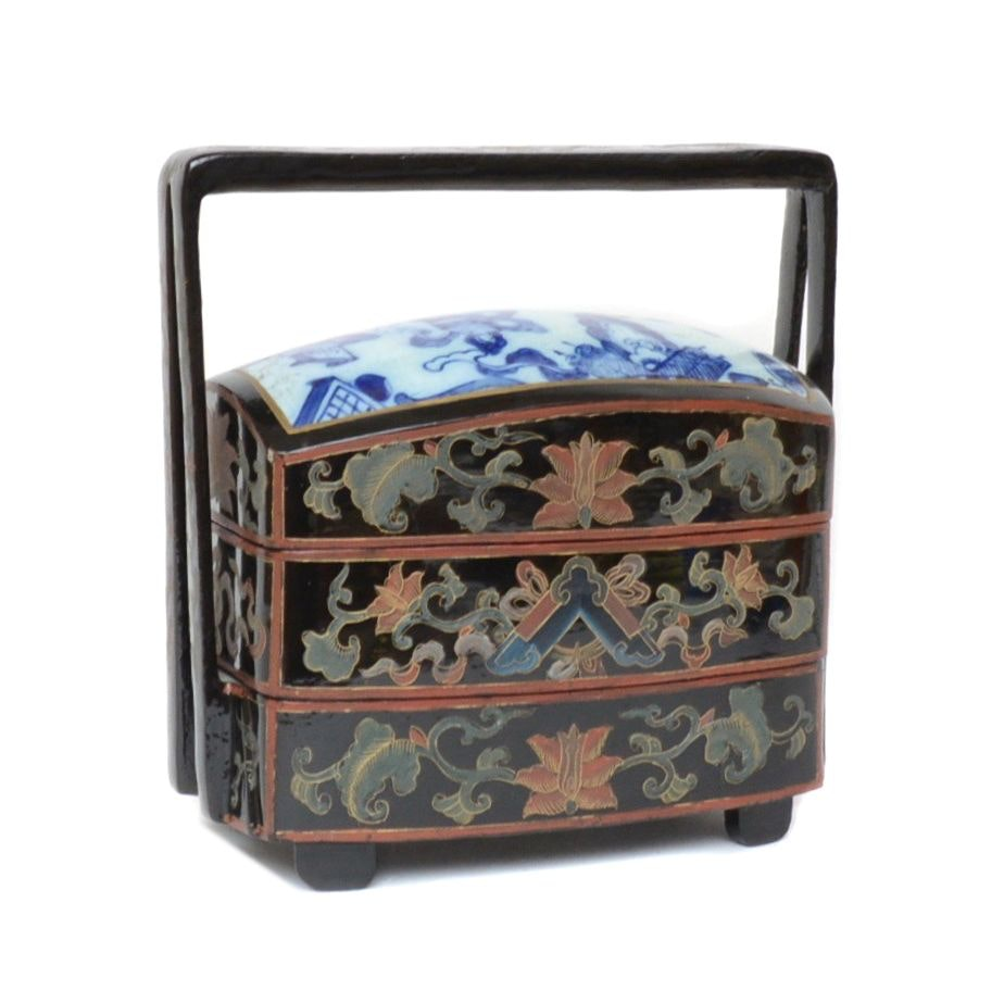 Chinese Hand-Painted and Lacquered Wedding Basket
